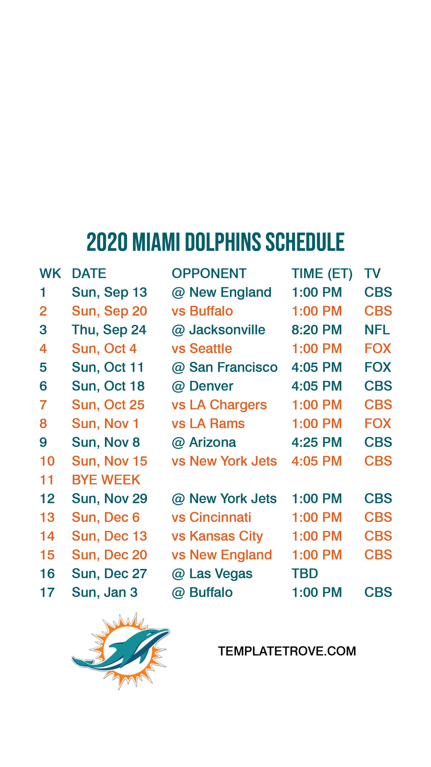 2020-2021 Miami Dolphins Lock Screen Schedule For Iphone 6-7