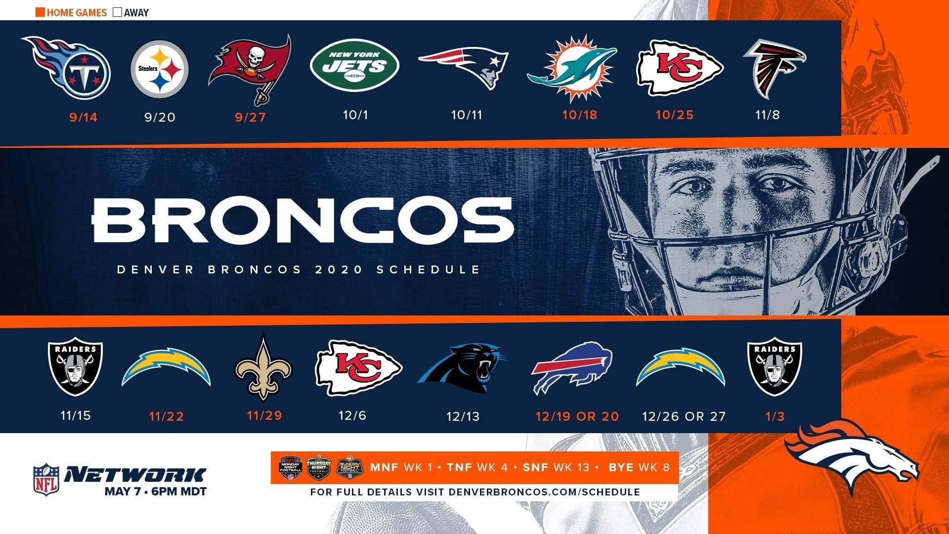 2020-2021 Season | Printable Nfl Schedule, Broncos, Denver