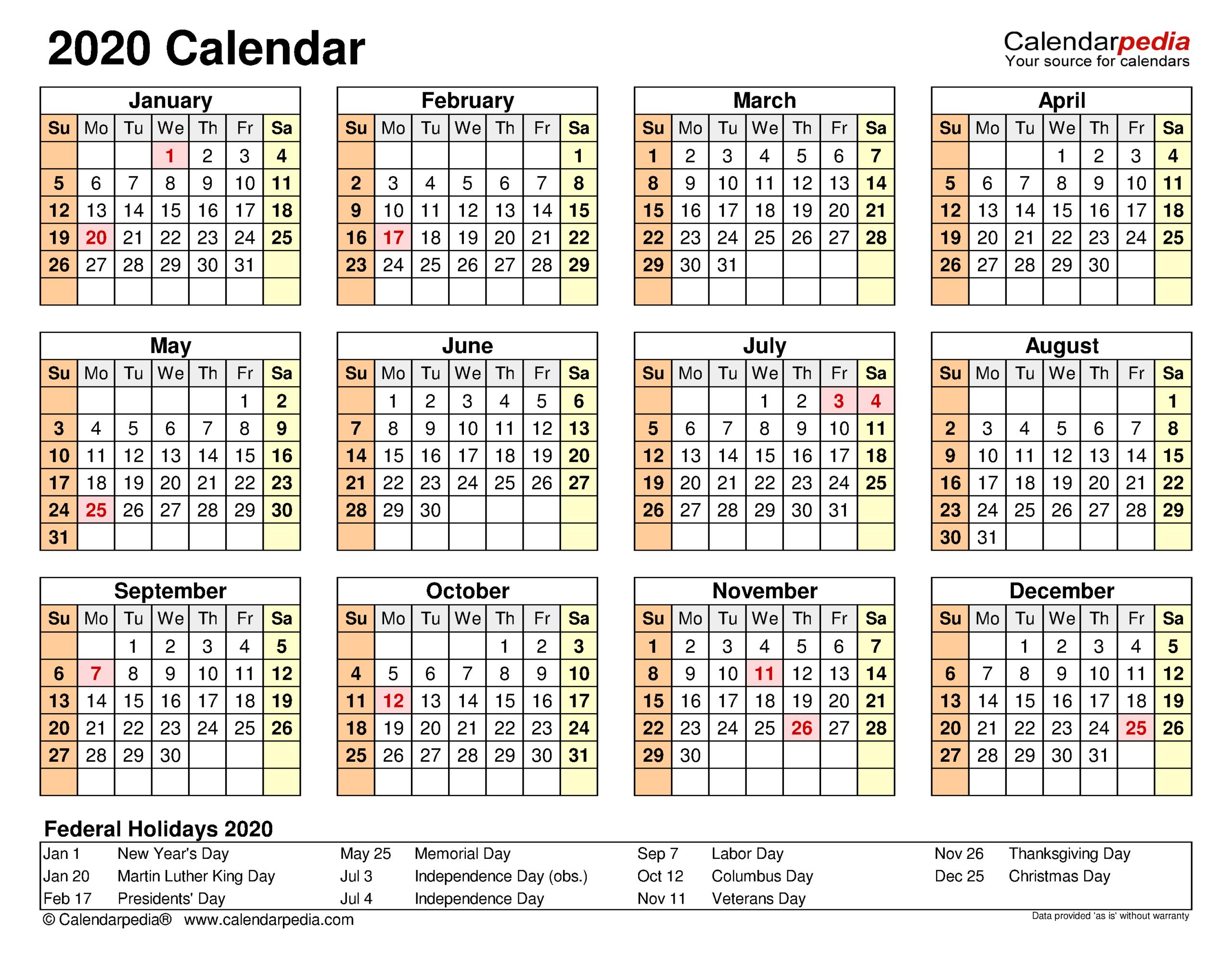 2020 Calendar - Free Printable Excel Templates - Calendarpedia
