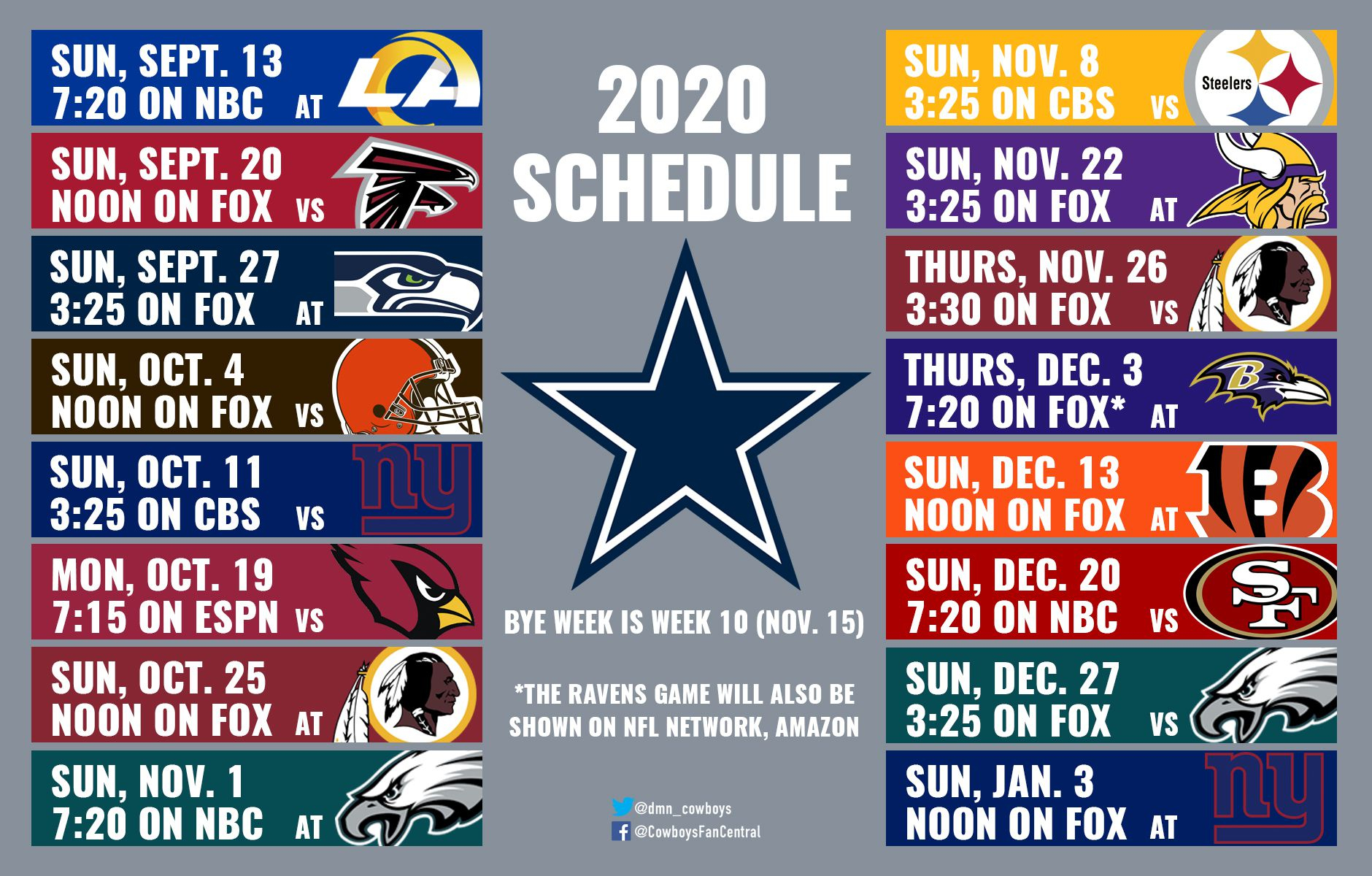 2020 Cowboys Schedule: Dates And Times Announced For Dallas