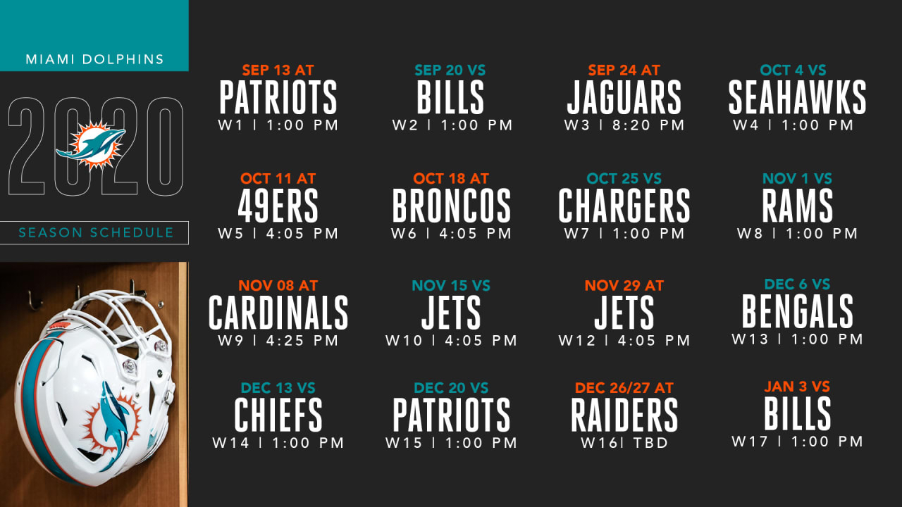 2020 Miami Dolphins Schedule: Complete Schedule And Match-Up