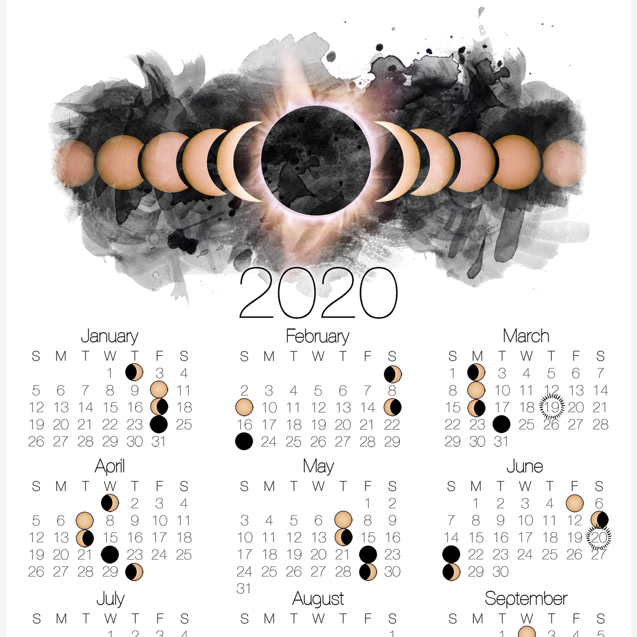 2020 Moon Phase Calendar Lunar Calendar With Solar Eclipse