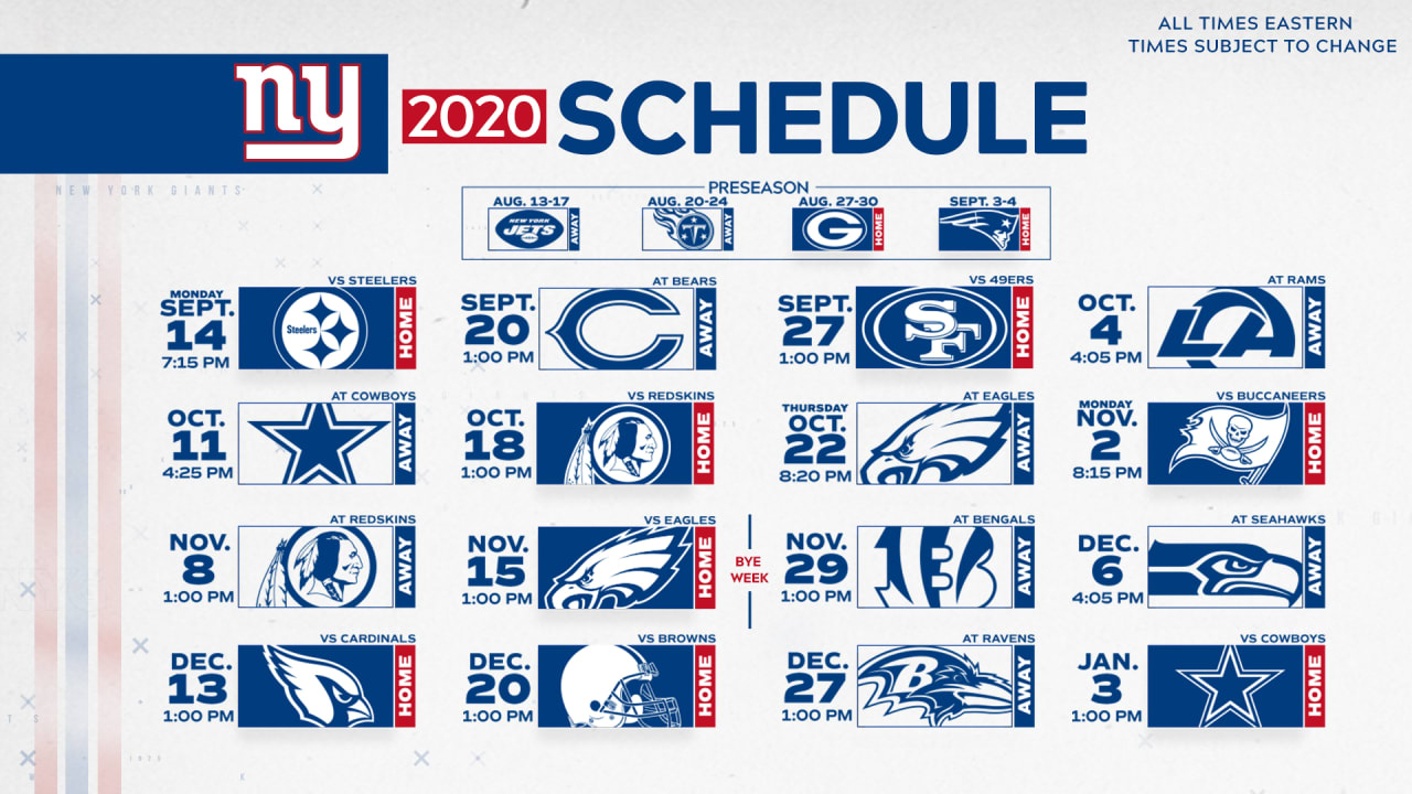 2020 New York Giants Schedule: Complete Schedule And Match