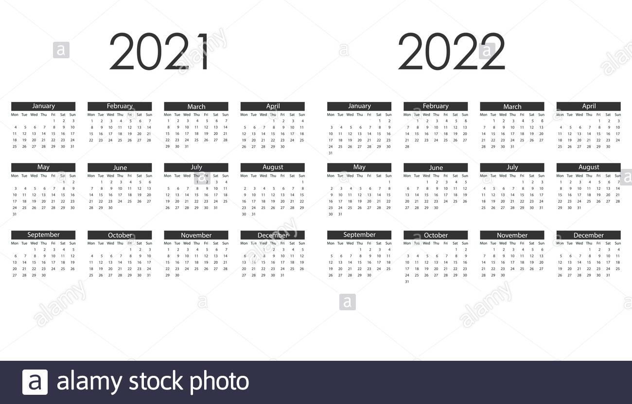 2021, 2022 Calendar, Week Starts Monday. Vector Illustration