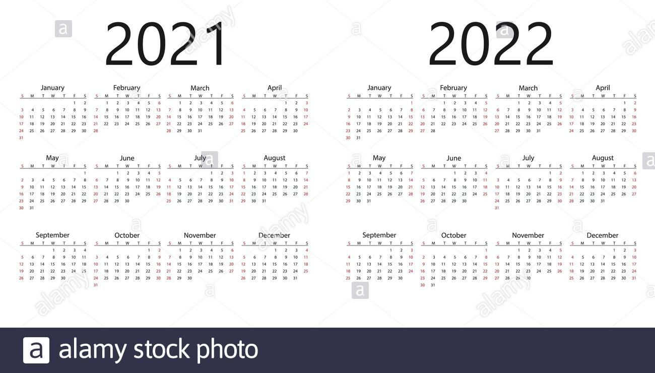 2021, 2022 Calendar, Week Starts Sunday. Vector Illustration