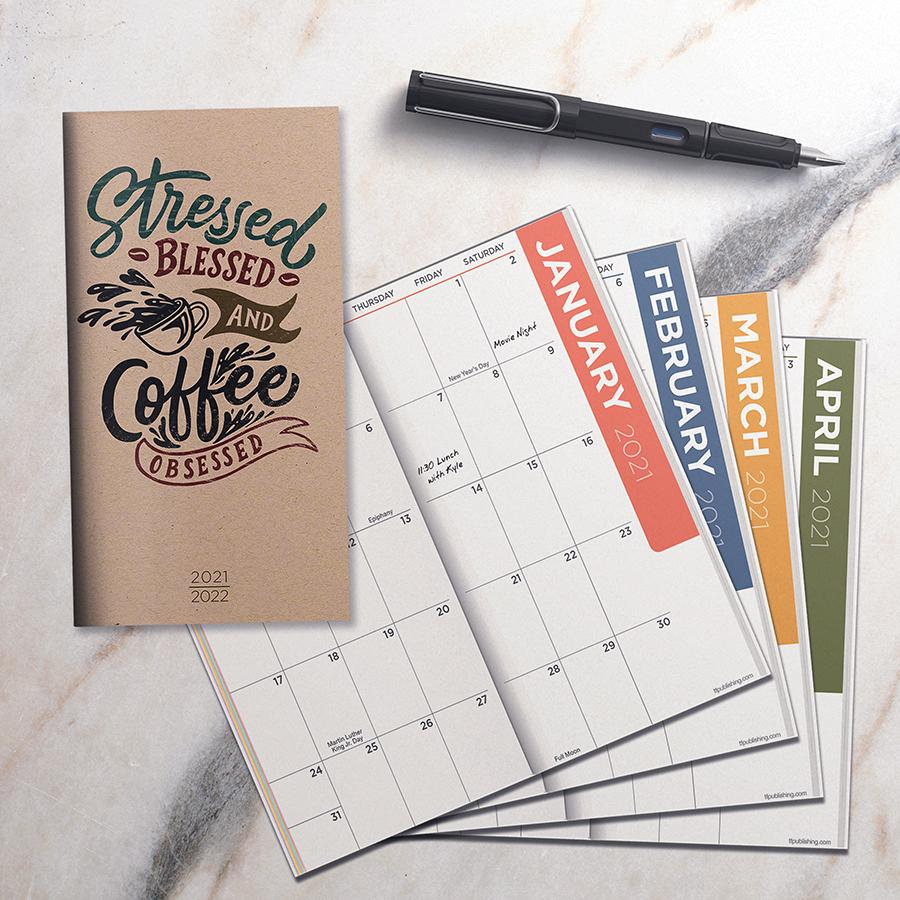 2021-2022 Kraft Coffee 2-Year Small Monthly Planner