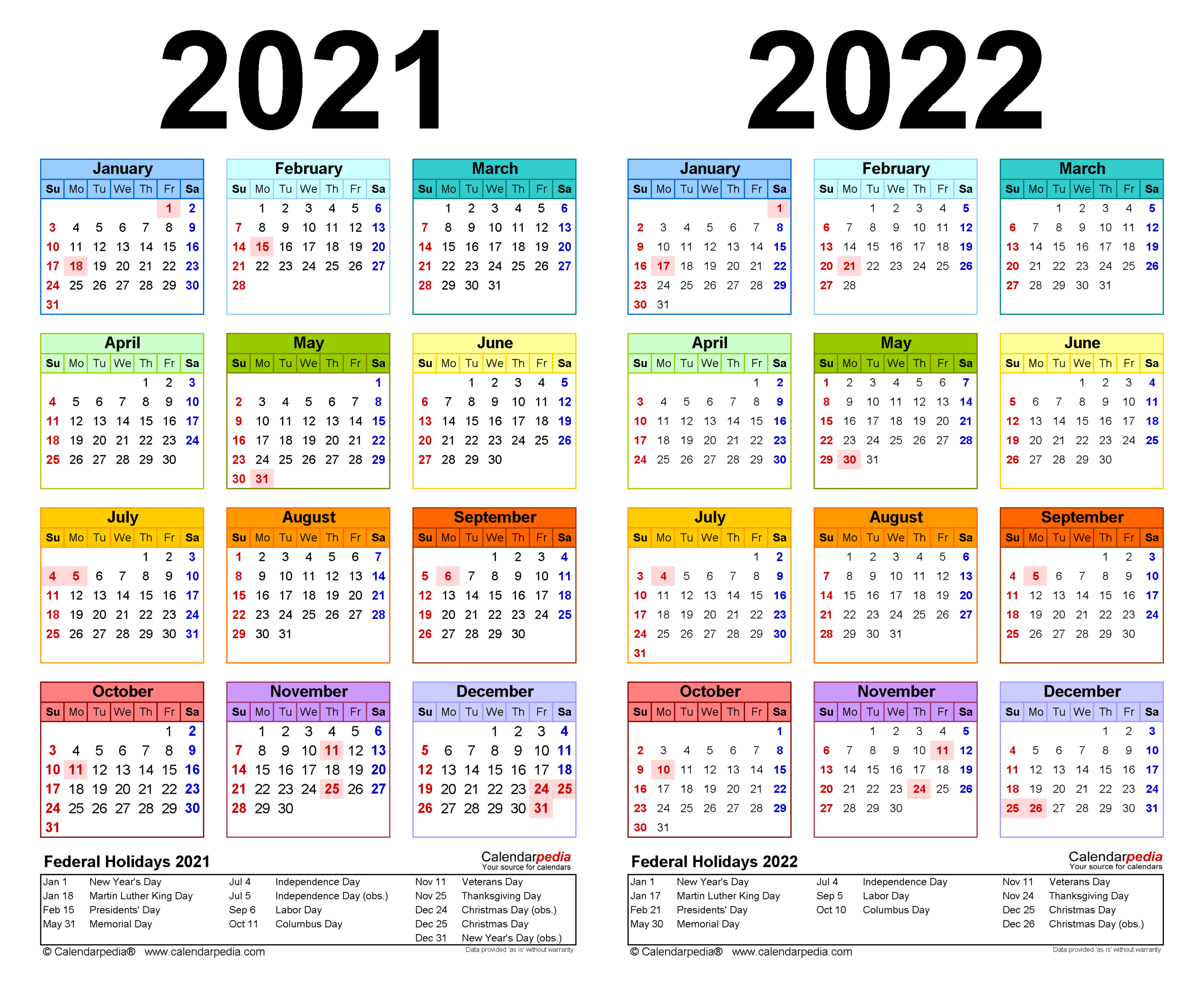 2021-2022 Two Year Calendar - Free Printable Word Templates