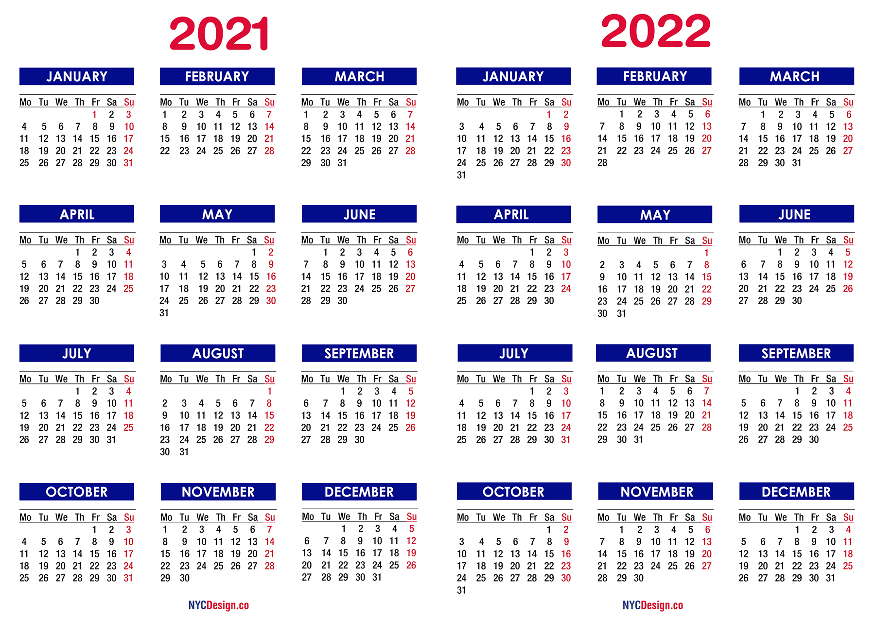 2021 – 2022 Two Year Calendar Printable Free, Blue