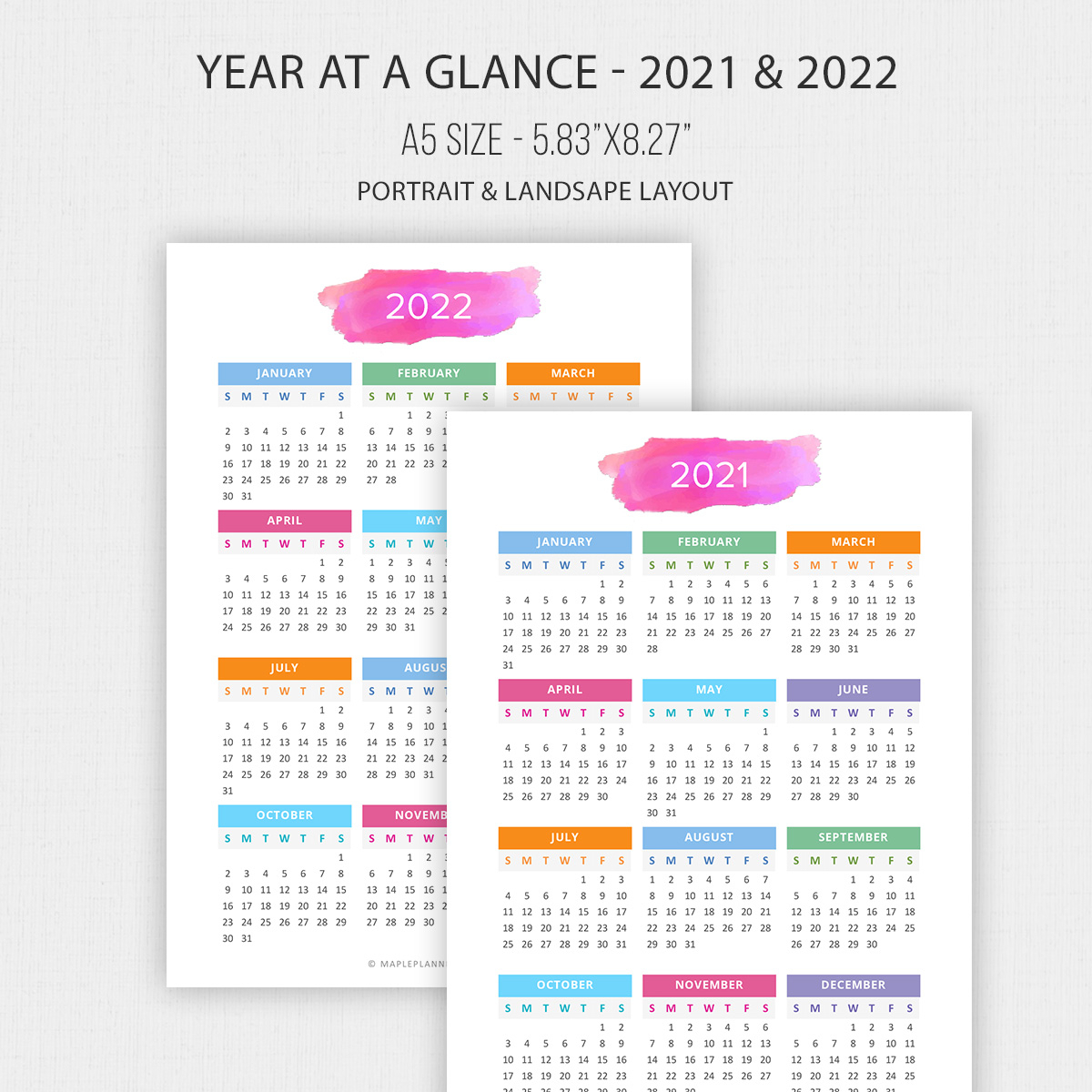 2021 - 2022 Year At A Glance In A5 Size | Yearly Calendar