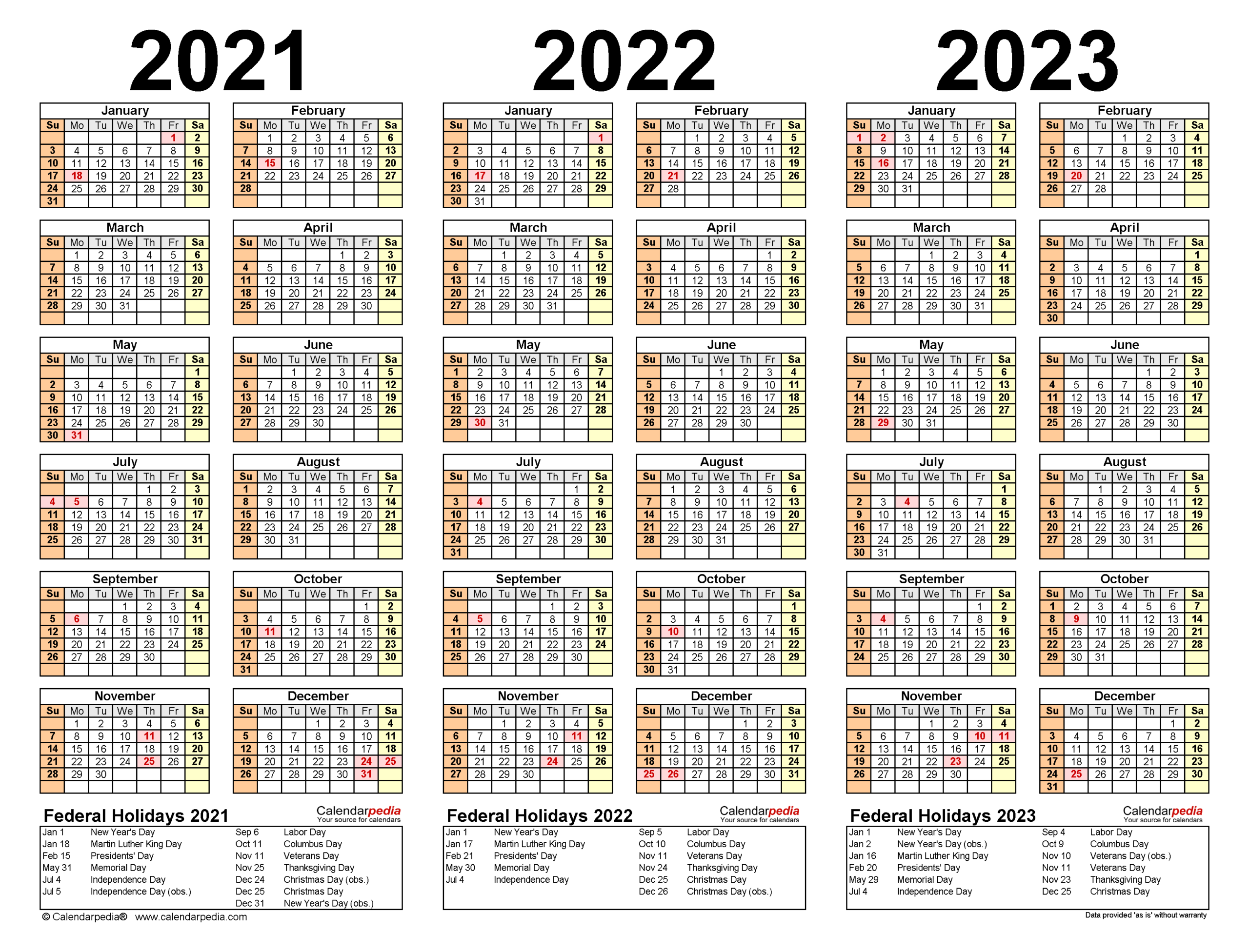 Printable Calendar 2021-2023