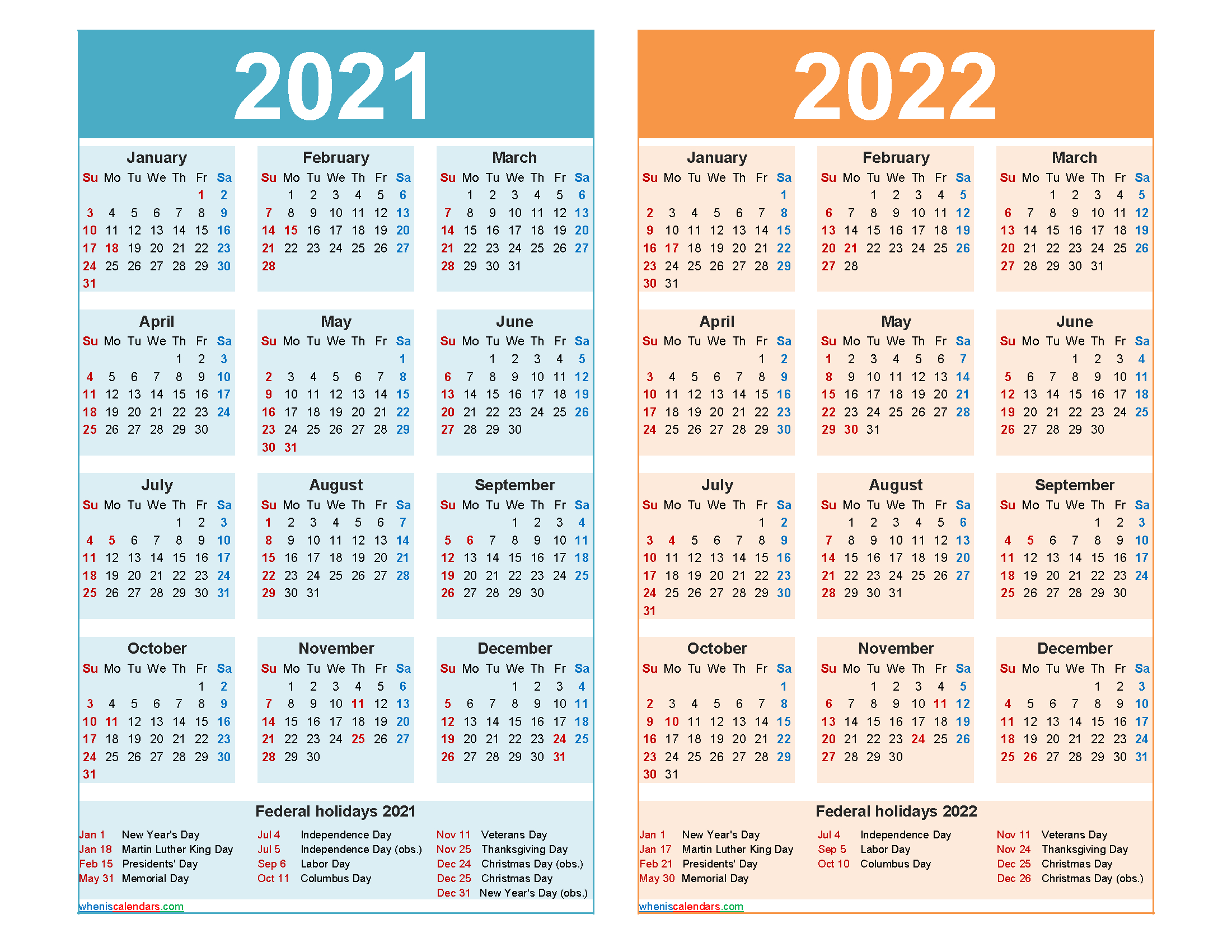 2021 And 2022 Calendar Printable Word, Pdf
