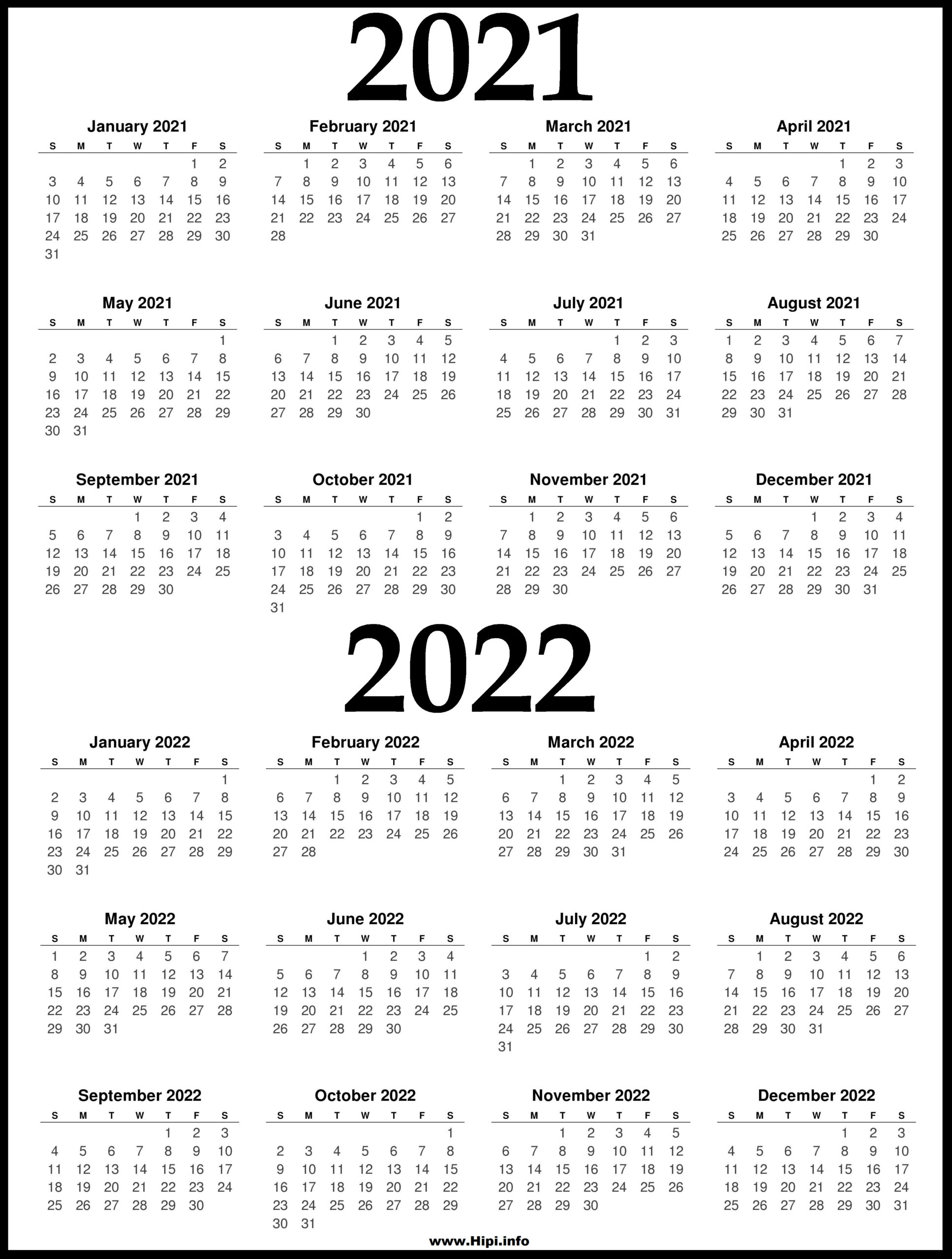 2021 And 2022 Printable Calendar - 2 Year Calendar - Hipi