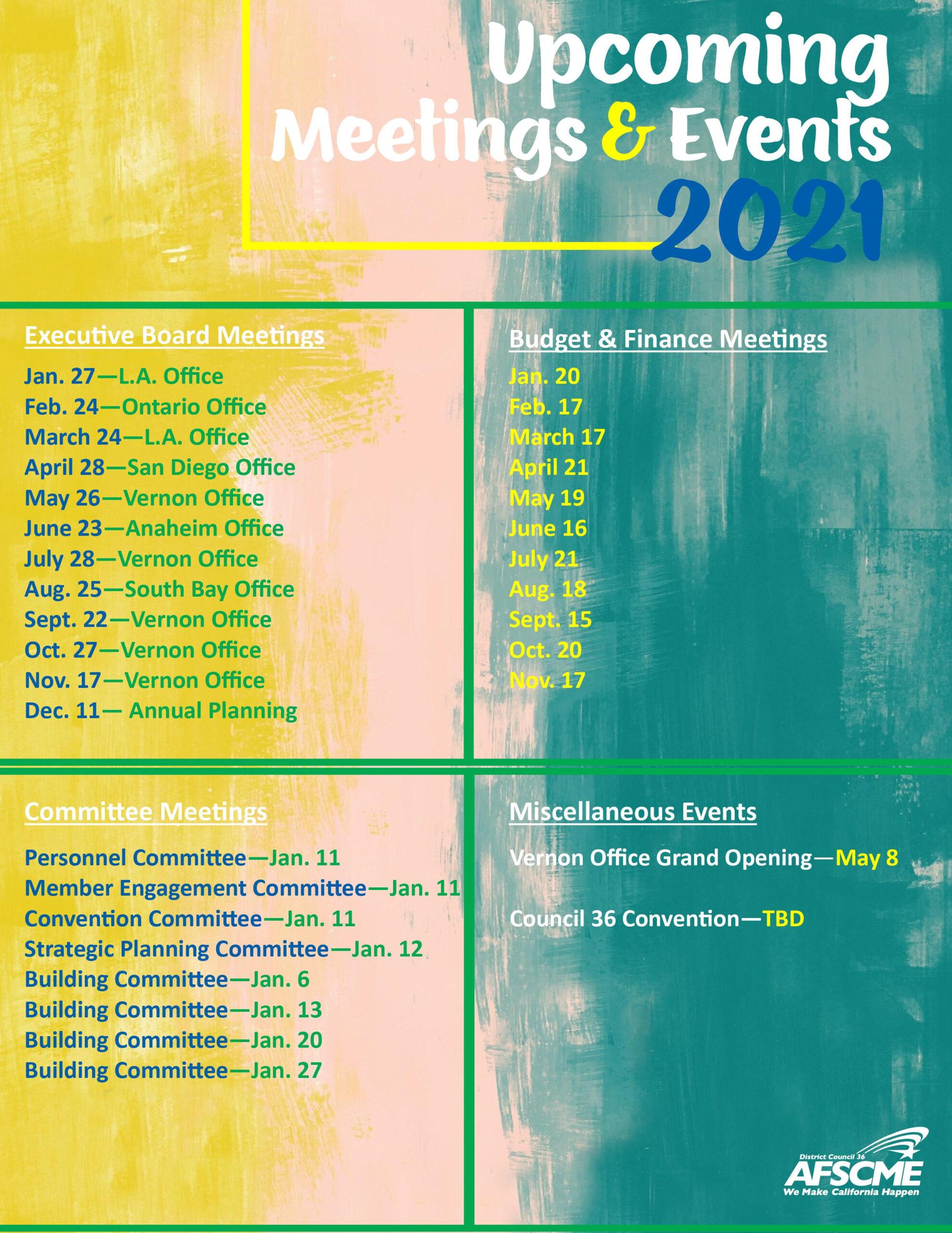 2021 Calendar | Afscme District Council 36