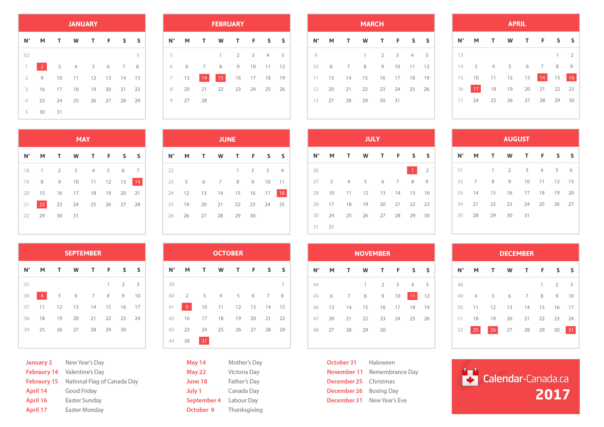 2021 Calendar Canada