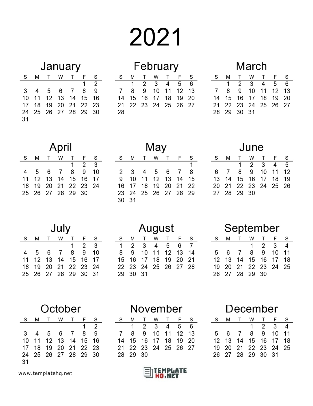 2021 Calendar Printable 00 | Calendar Printables, 2021