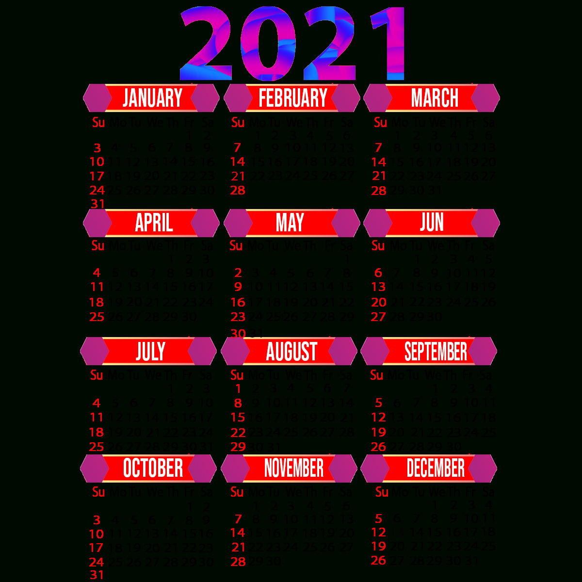 2021 Calendar Printable | 12 Months All In One | Calendar 2021
