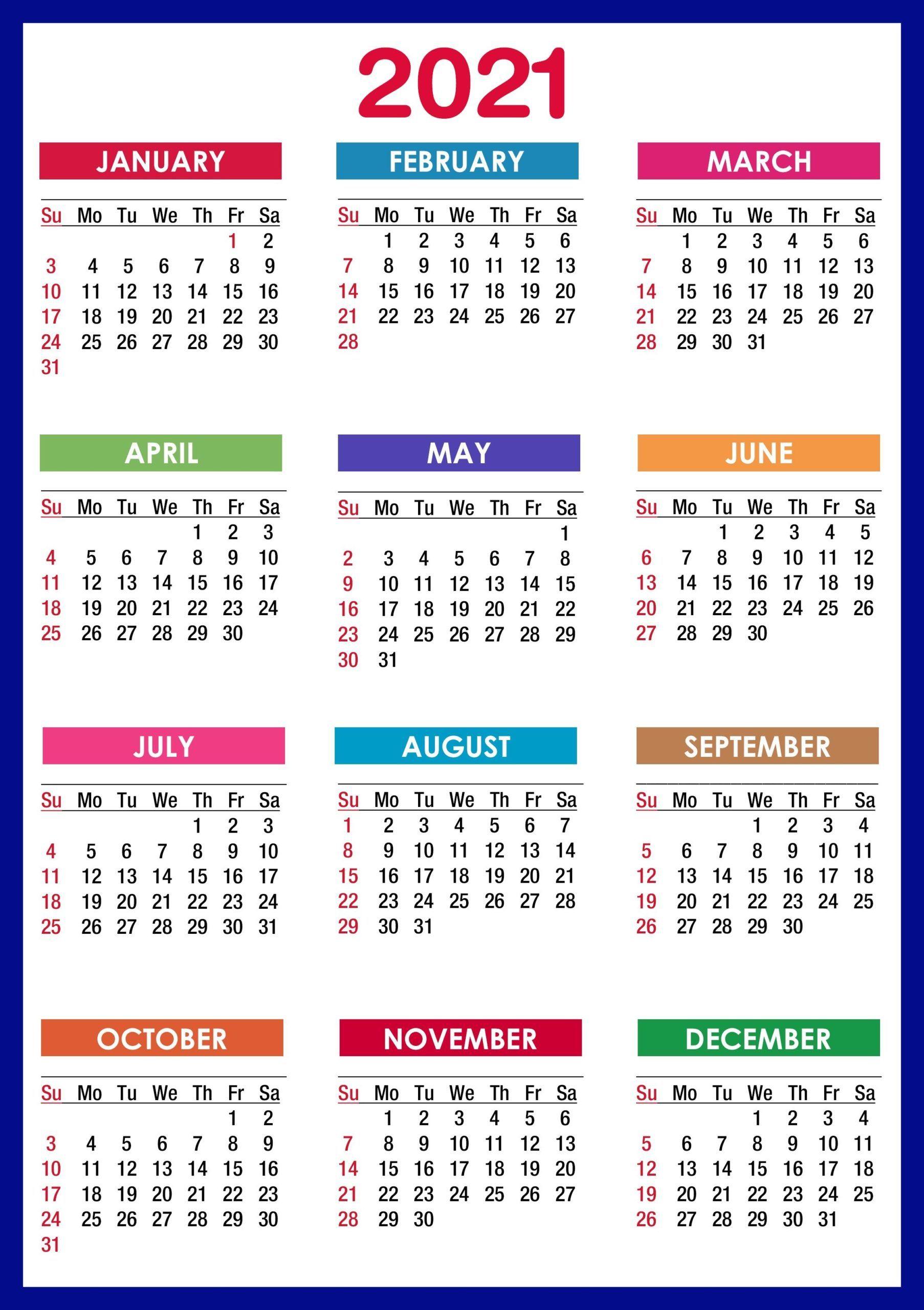 2021 Calendar Printable | 12 Months All In One | Calendar