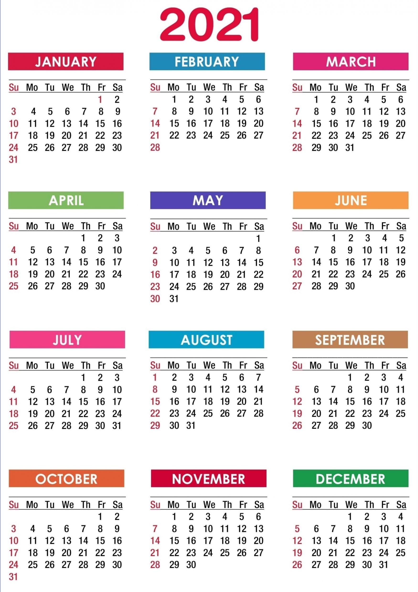2021 Calendar Printable | 12 Months All In One | Printable