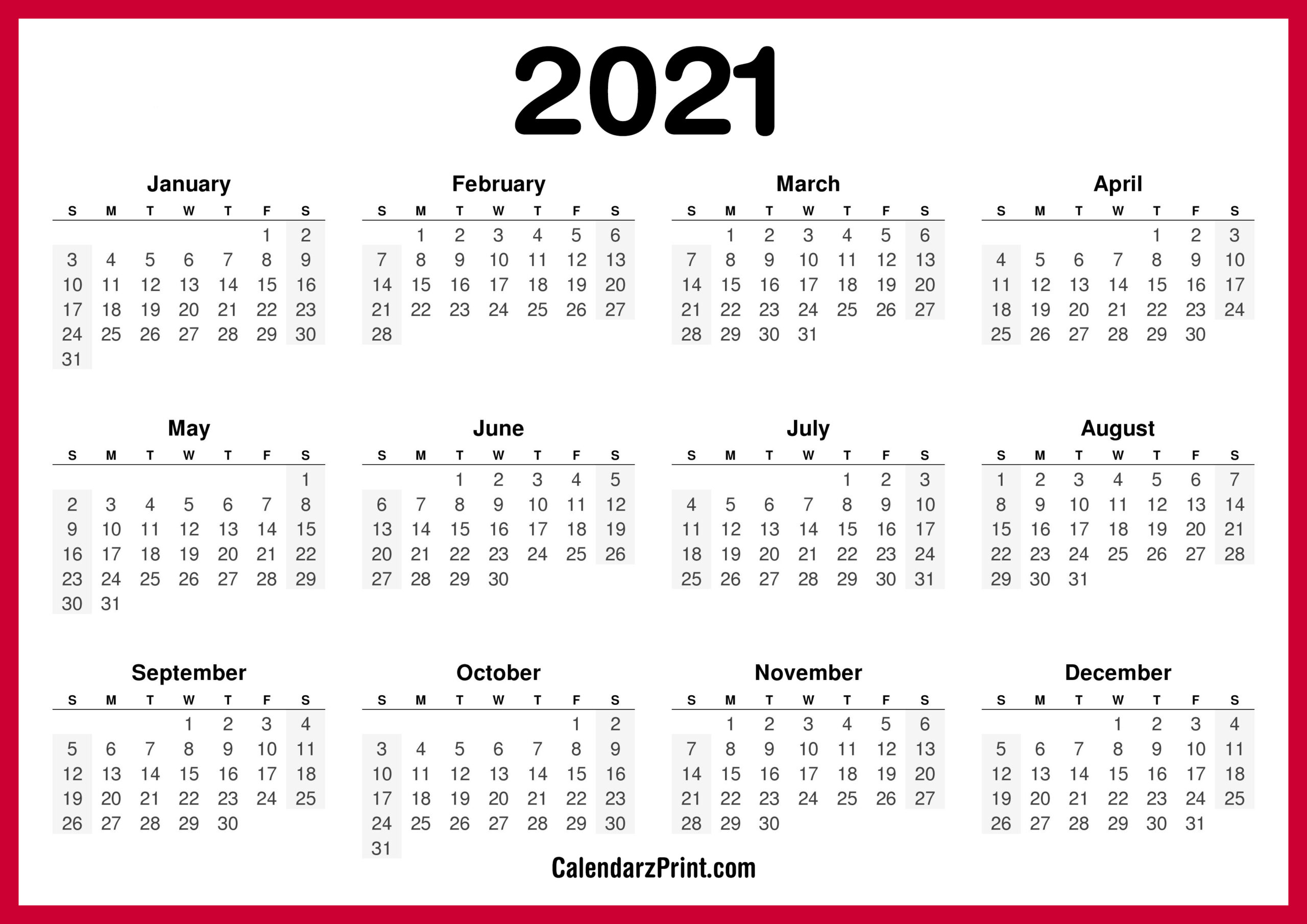 2021 Calendar Printable Free, Horizontal, Hd, Red