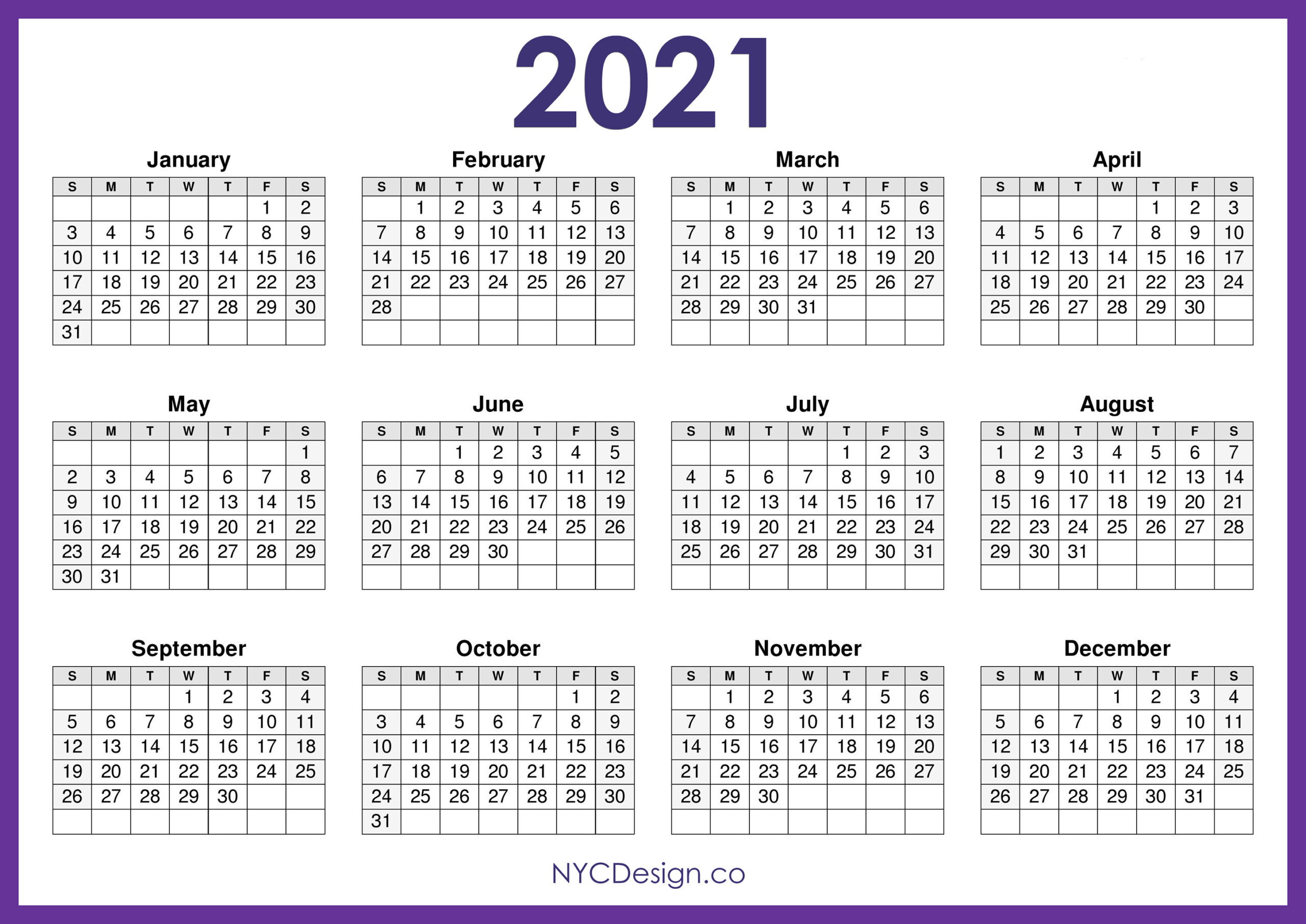 2021 Calendar Printable Free, Horizontal, Purple, Hd