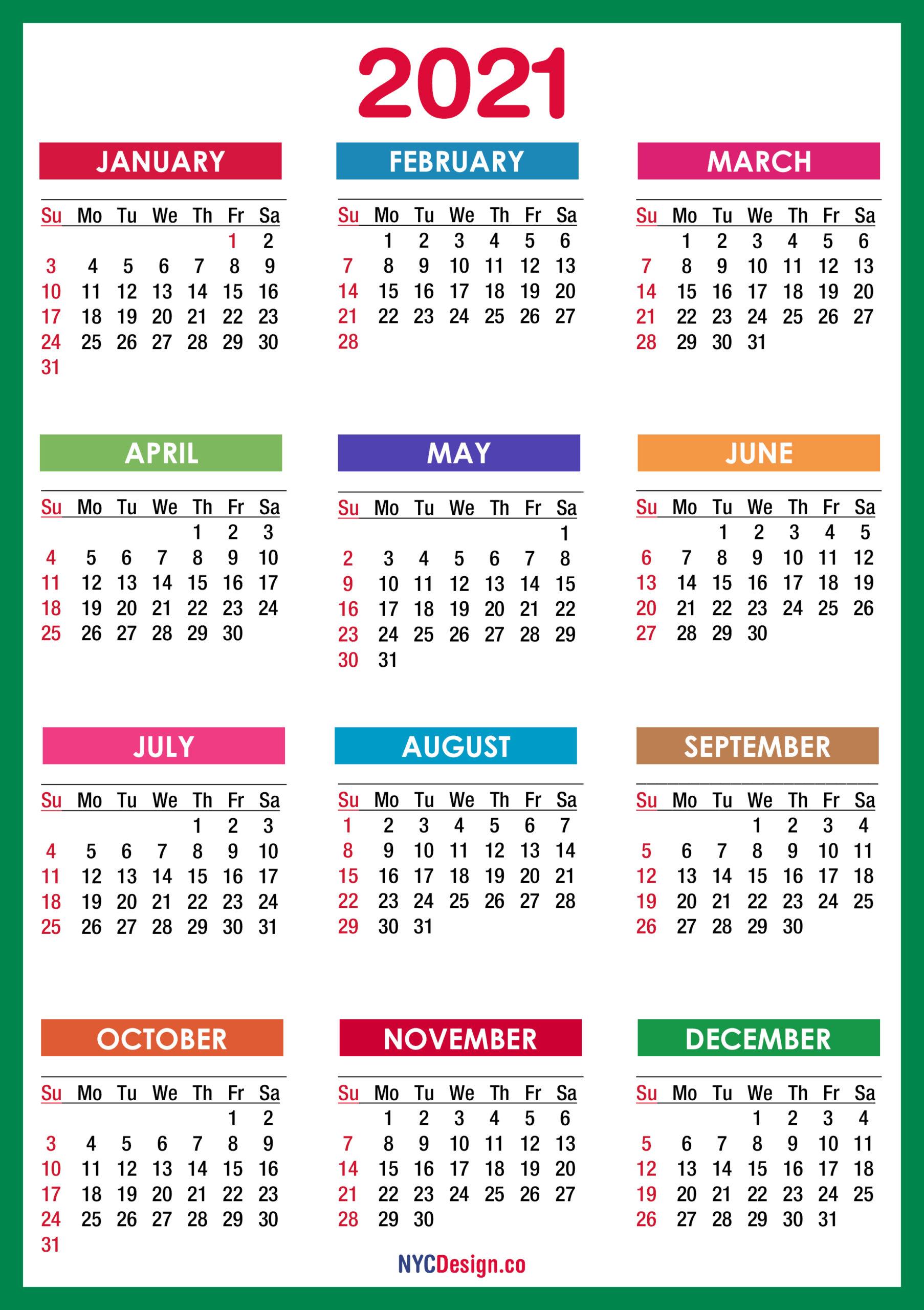 2021 Calendar Printable Free, Pdf, Colorful, Blue, Green