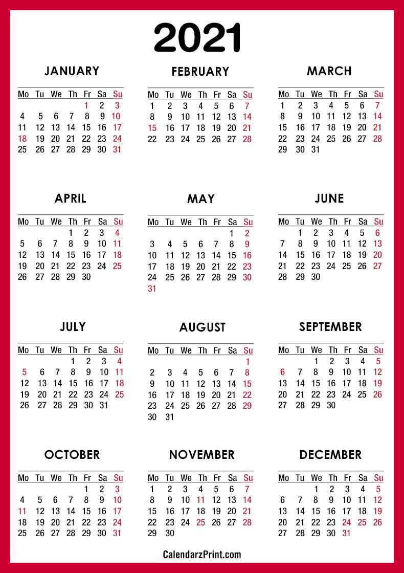 2021 Calendar Printable Free With Usa Holidays, Red – Monday