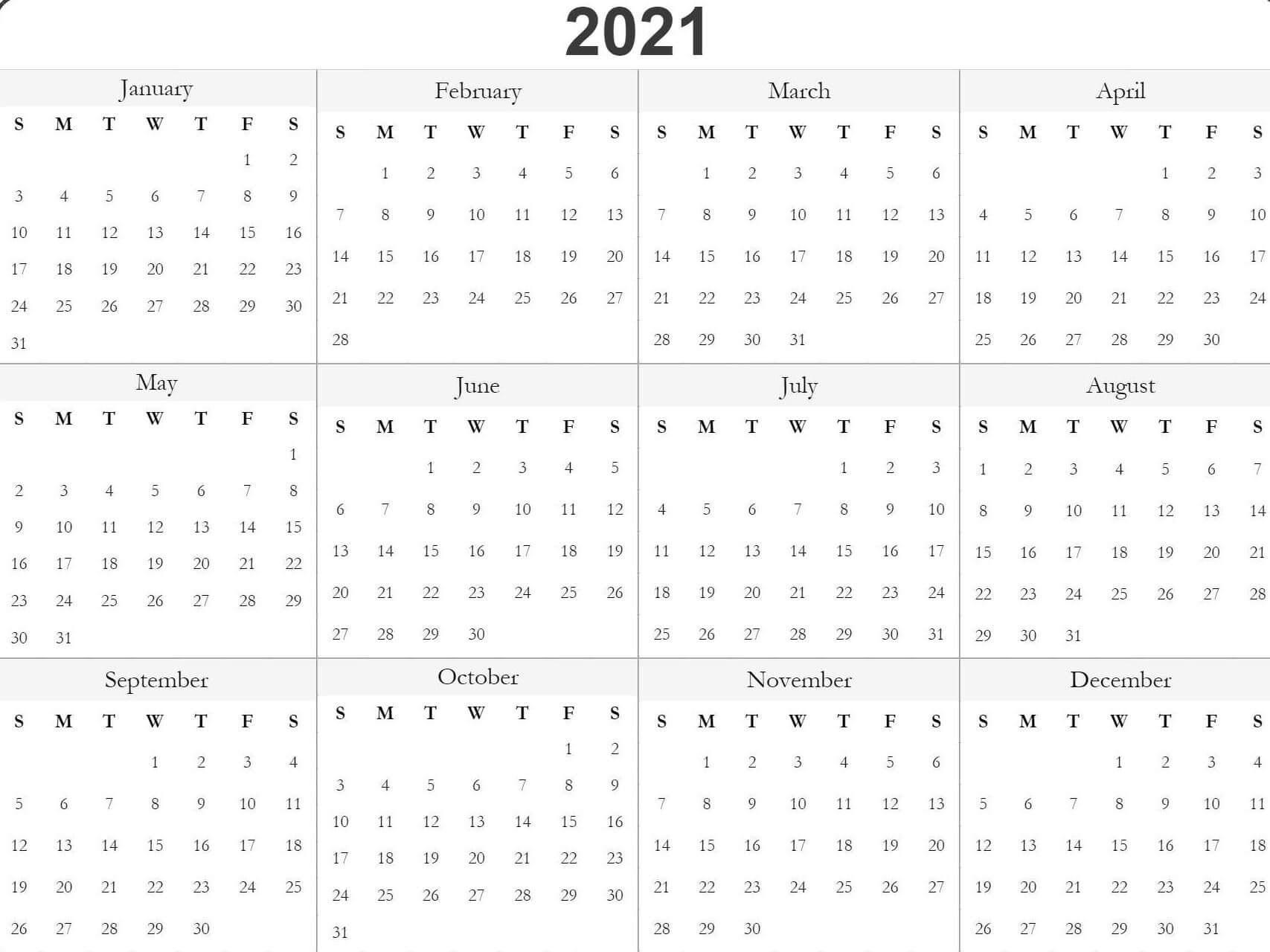 2021 Calendar Template Pdf, Word, Excel Free Download