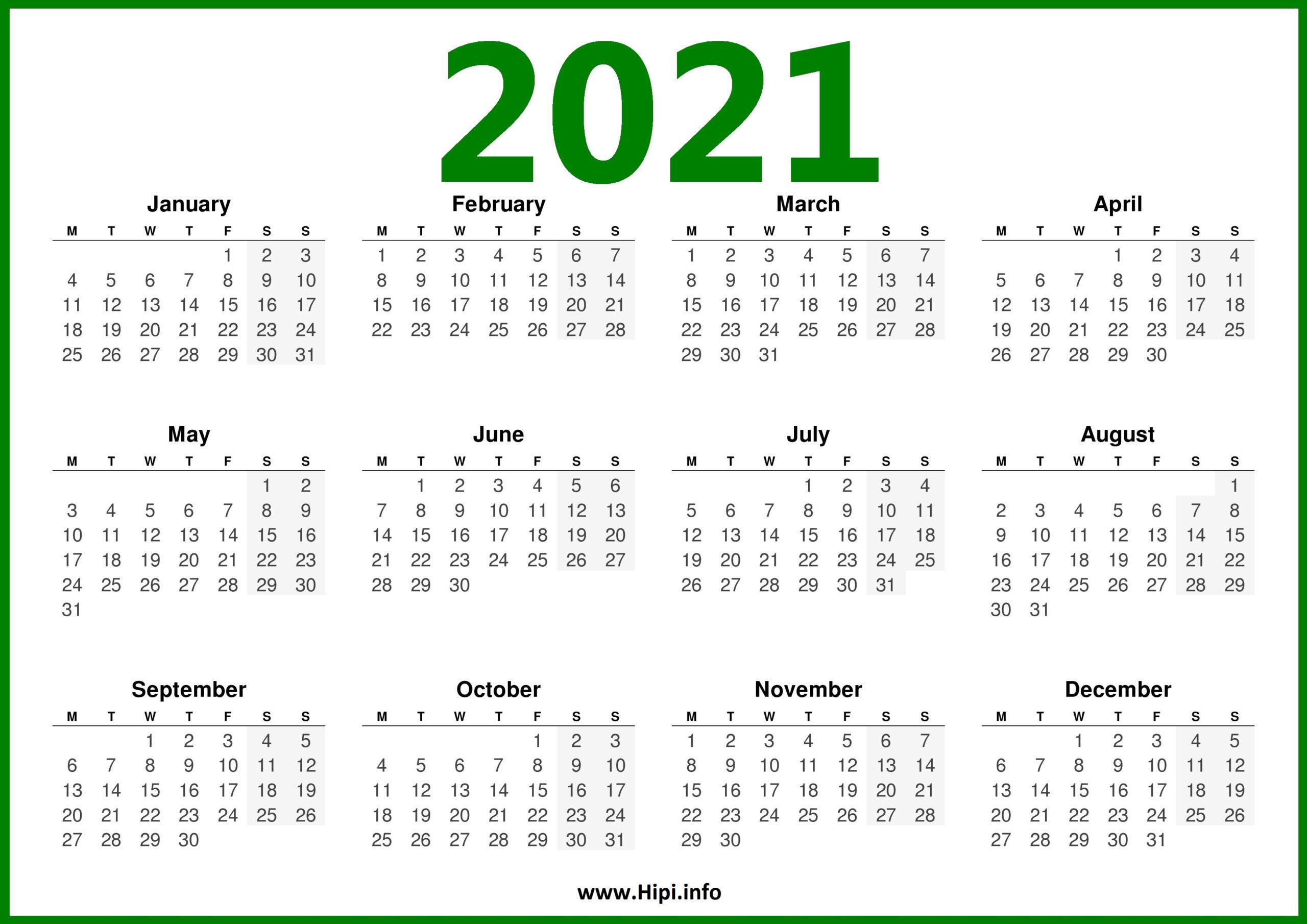 2021 Calendar Uk - Monday Start - Hipi