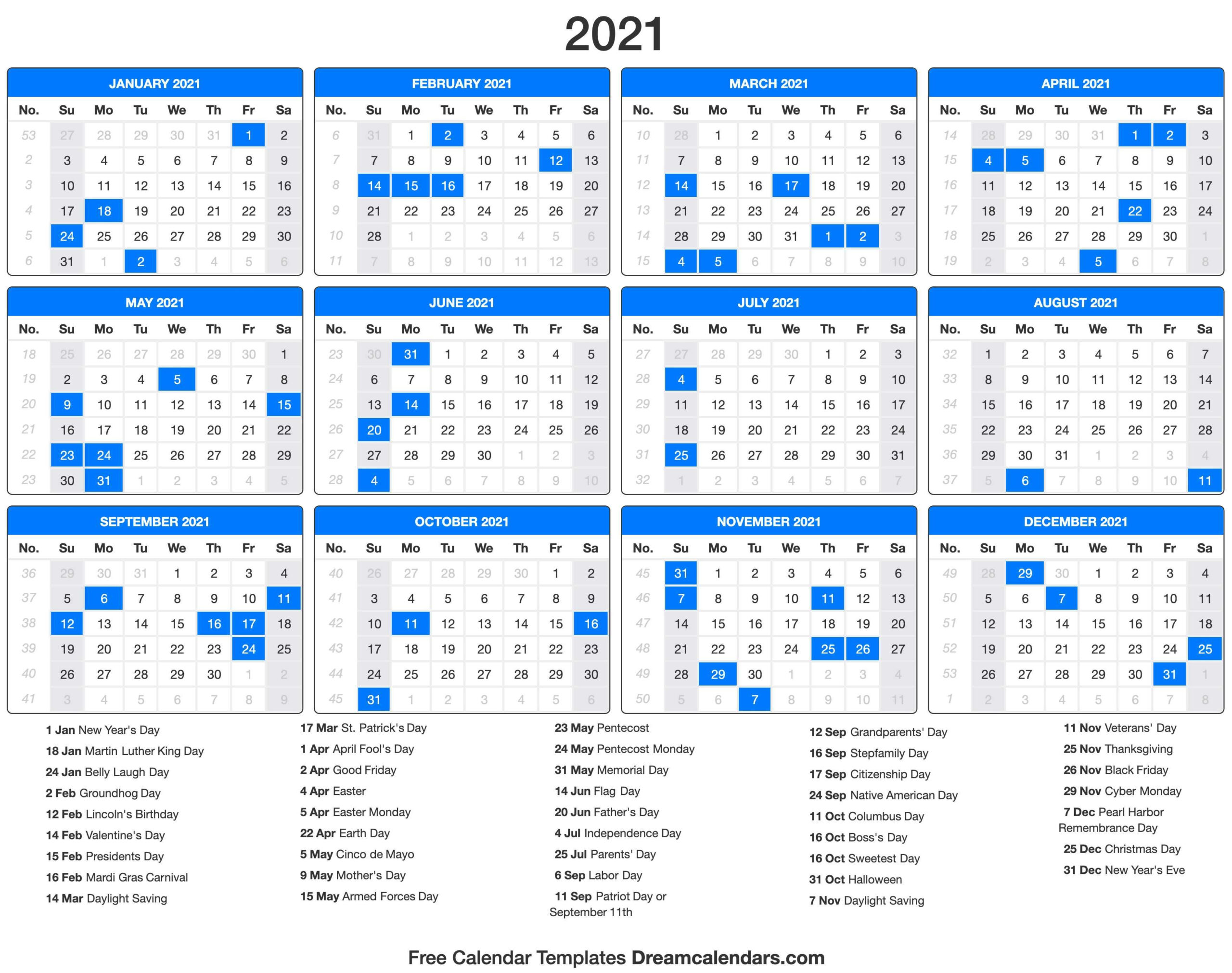 2021 Calendar With Holidays - Dream Calendars   Holiday