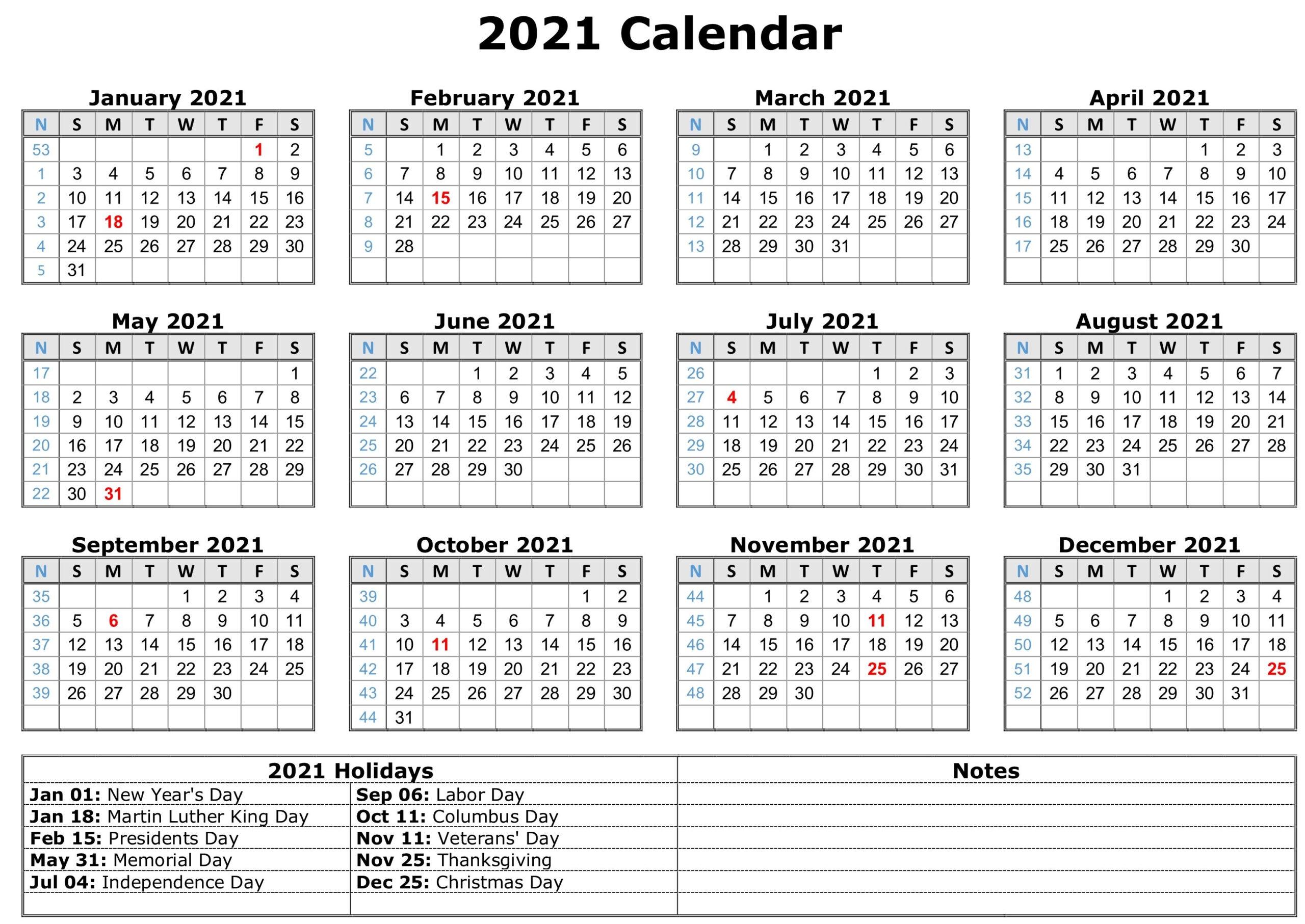 2021 Calendar With Holidays Printable Free