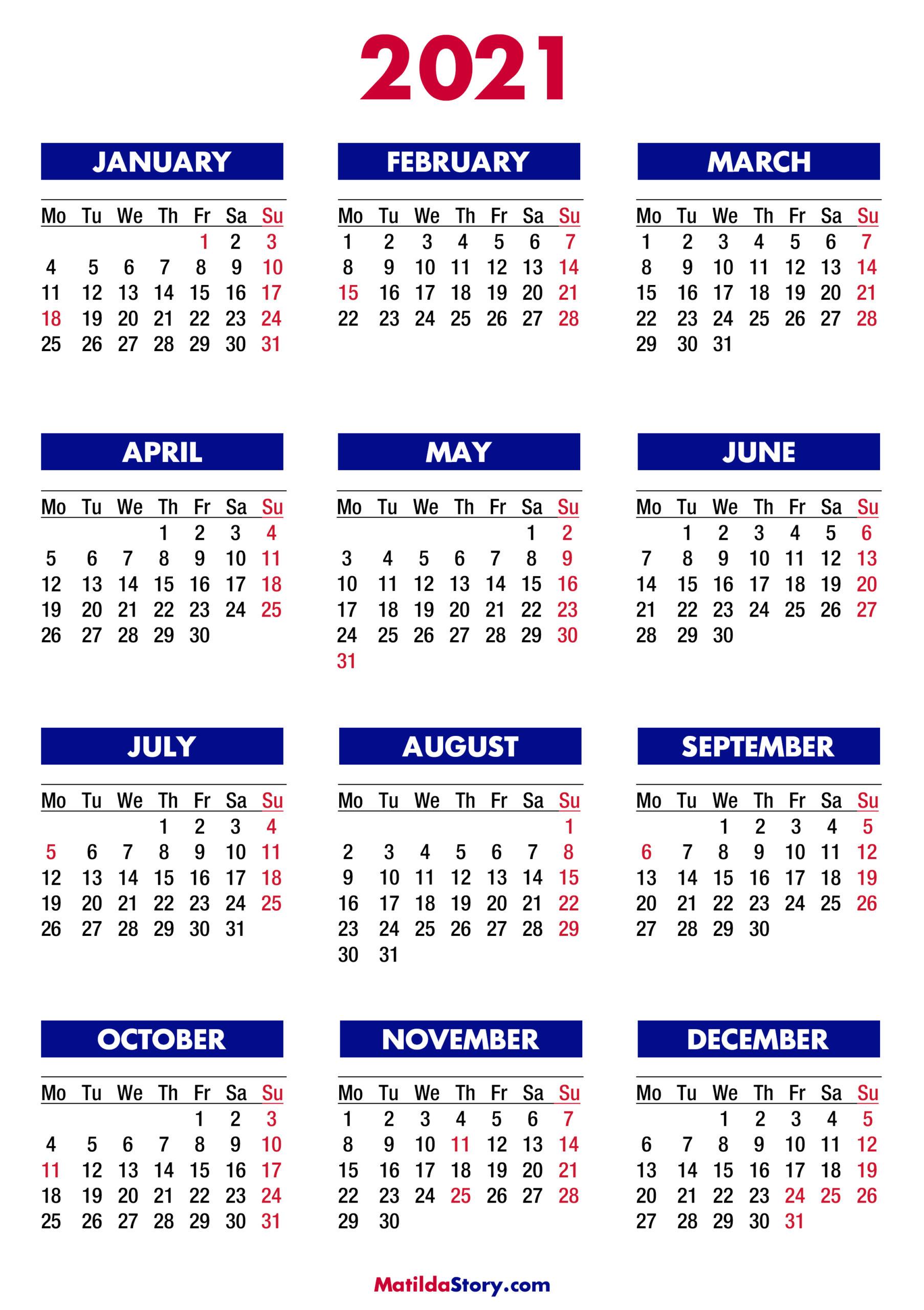 2021 Calendar With Holidays, Printable Free, Colorful