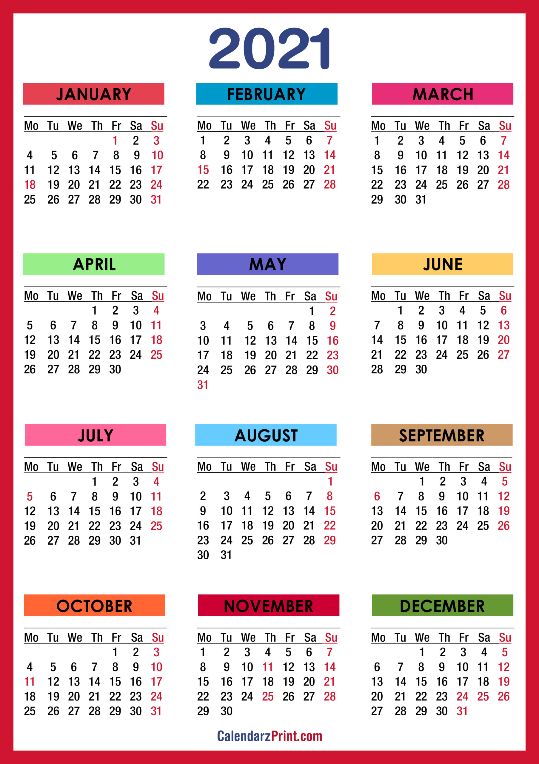 2021 Calendar With Holidays, Printable Free, Colorful, Red