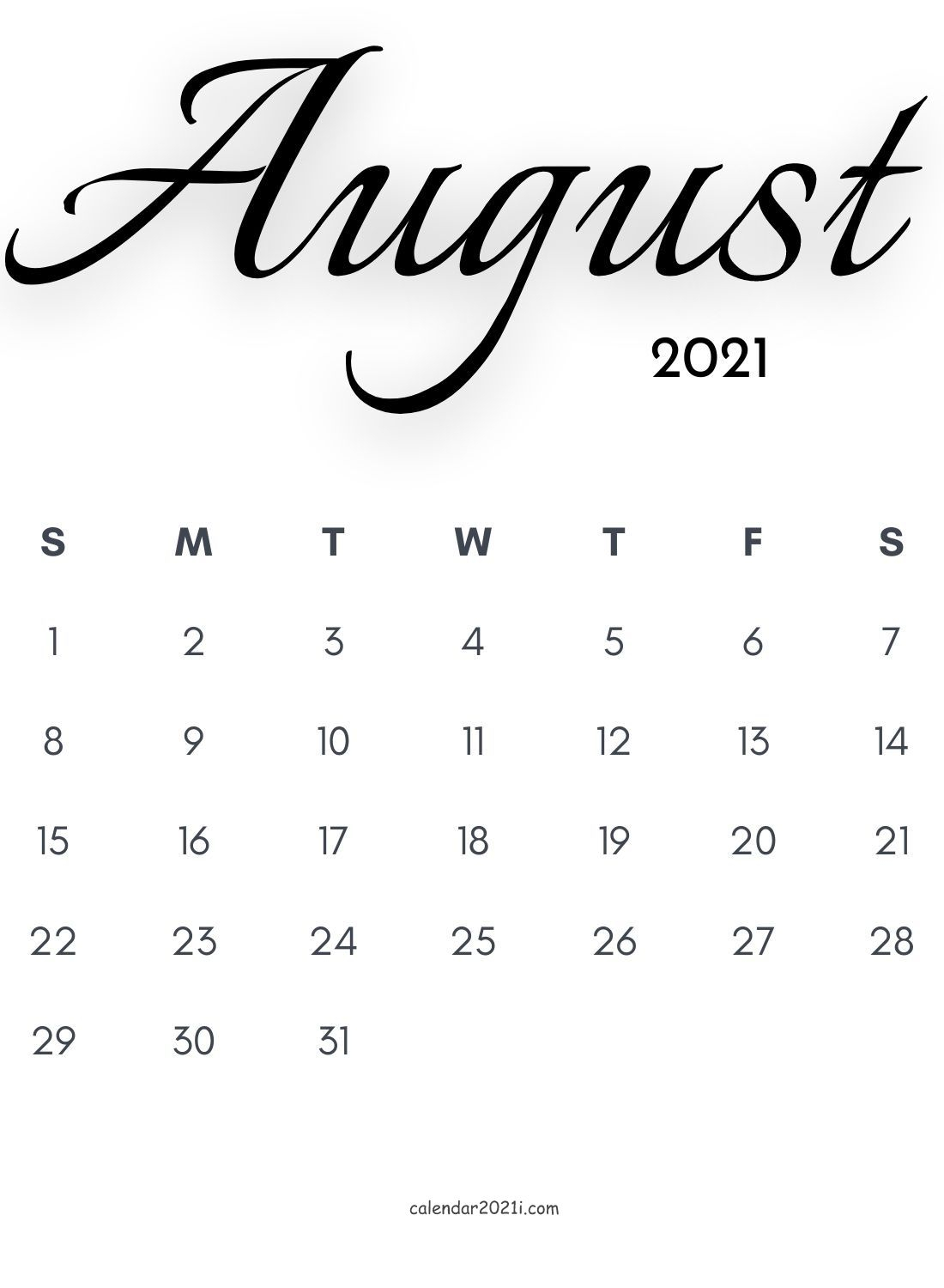 2021 Calligraphy Monthly Calendar Printable Templates