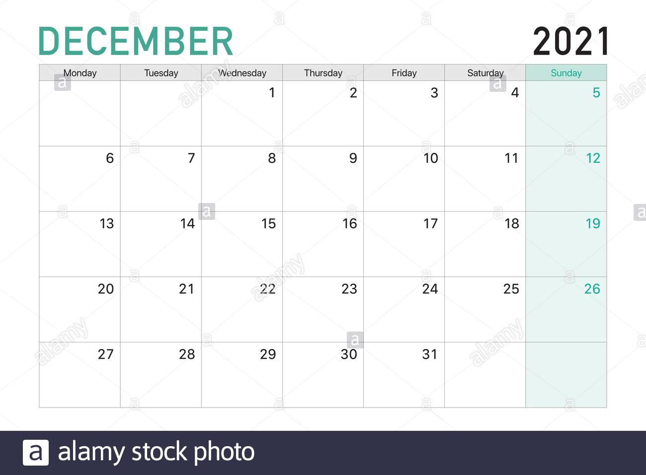 2021 December Illustration Vector Desk Calendar Weeks Start