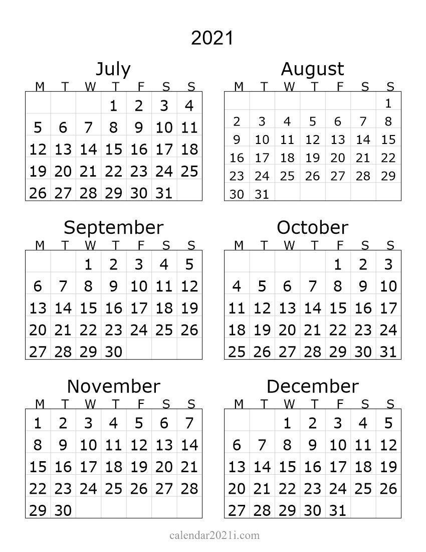 2021 Half Year Portrait Calendar | Printable Calendar