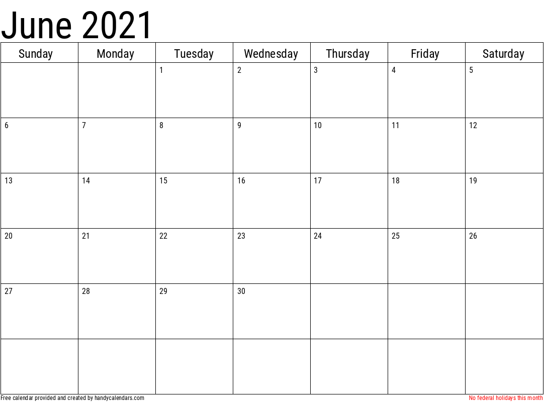 2021 June Calendars - Handy Calendars