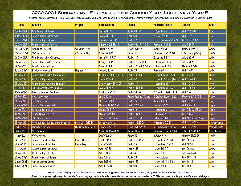 Liturgical Calendar For 2021 Printable