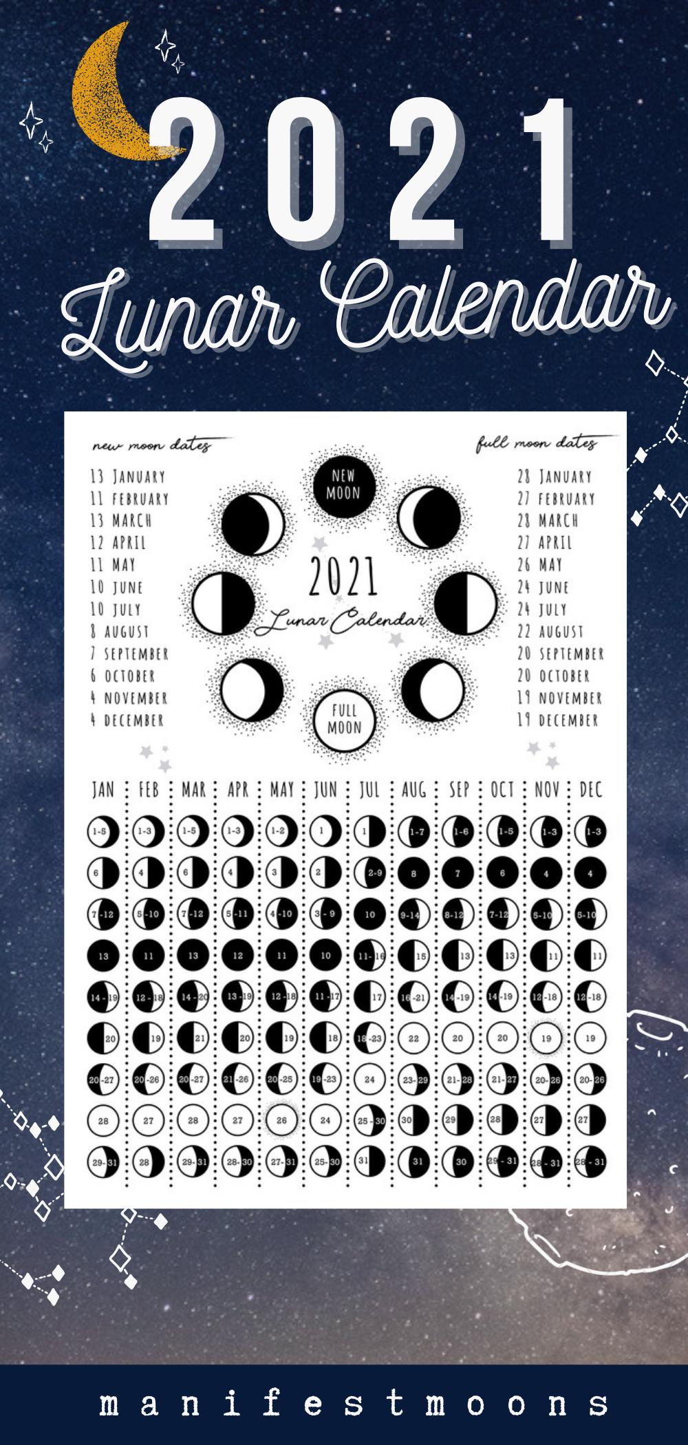 2021 Lunar Phase Calendar Printable Calendar Vertical Moon