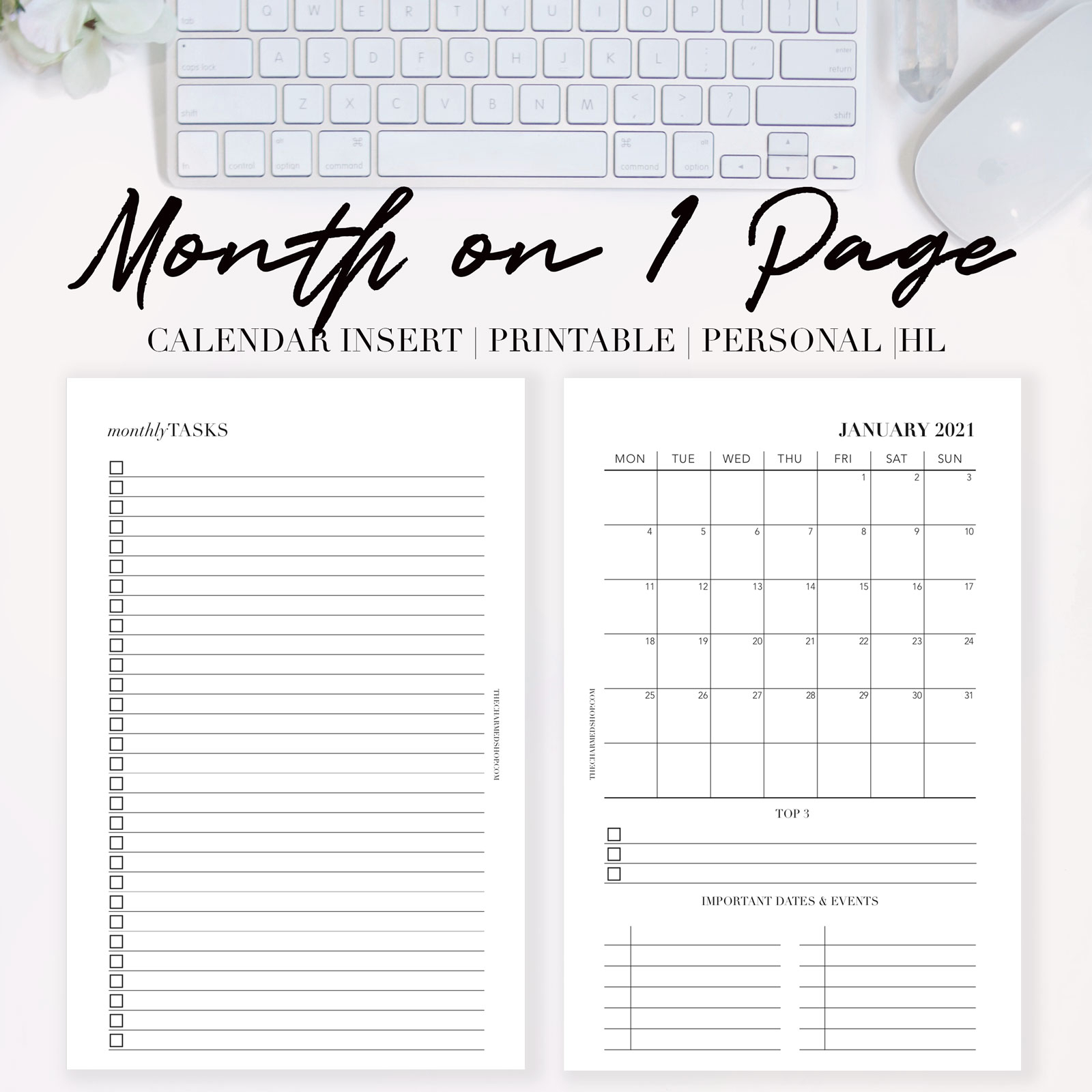 2021 Month On One Page Calendar {Printable Pdf}