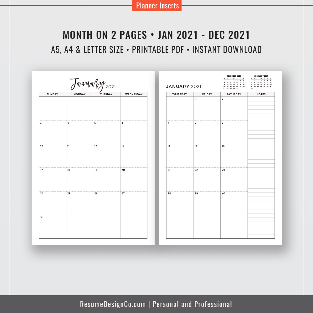 2021 Monthly Planner, 12-Month Calendar, A4, A5, Letter Size, Filofax A5,  Planner Design, Planner Refills, Planner Inserts, Planner Printable,  Instant