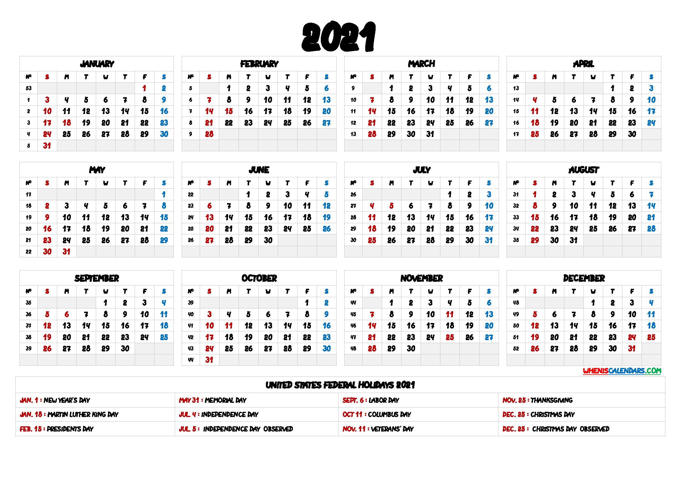 2021 One Page Calendar Printable - 9 Templates