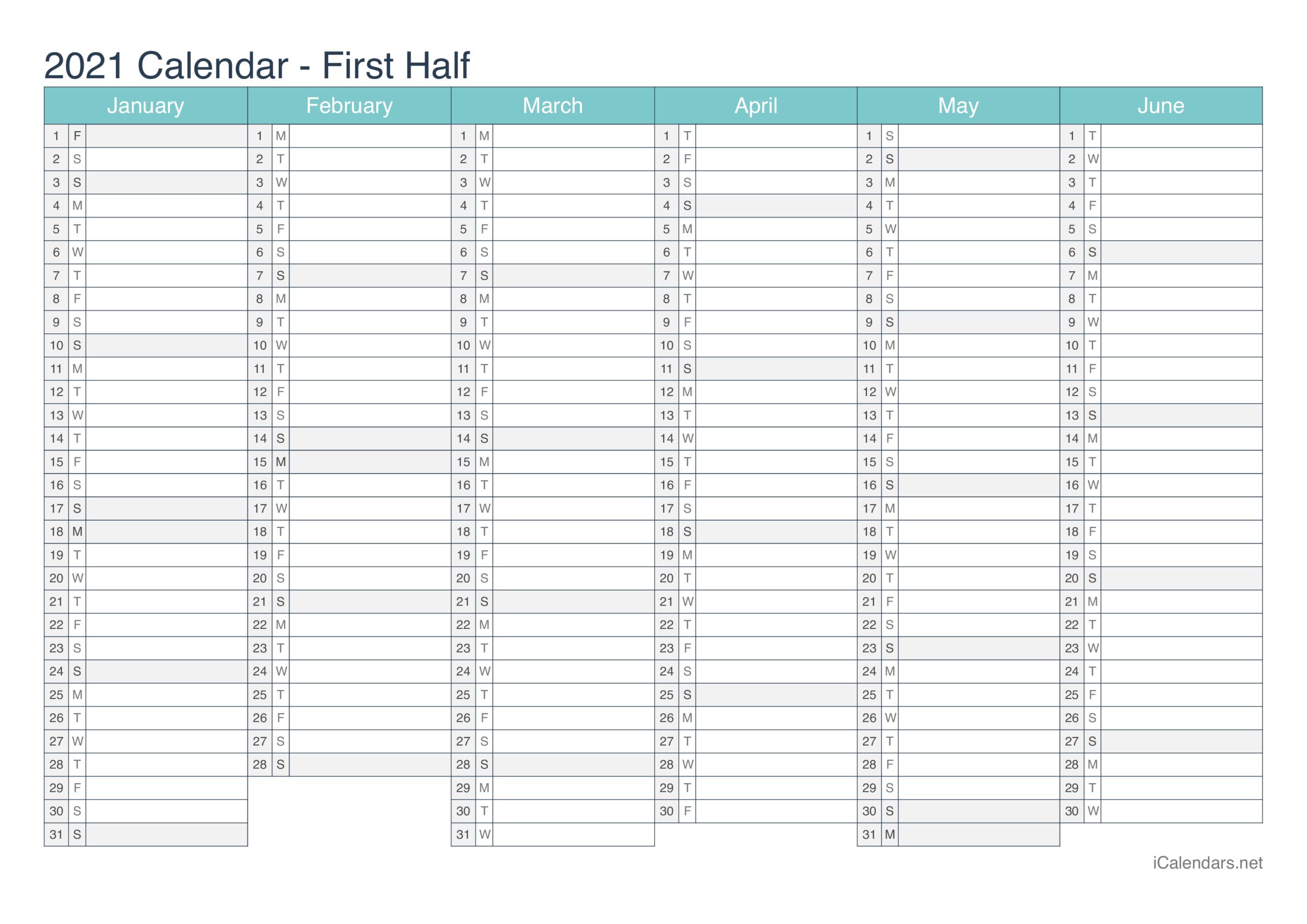 2021 Printable Calendar - Pdf Or Excel - Icalendars