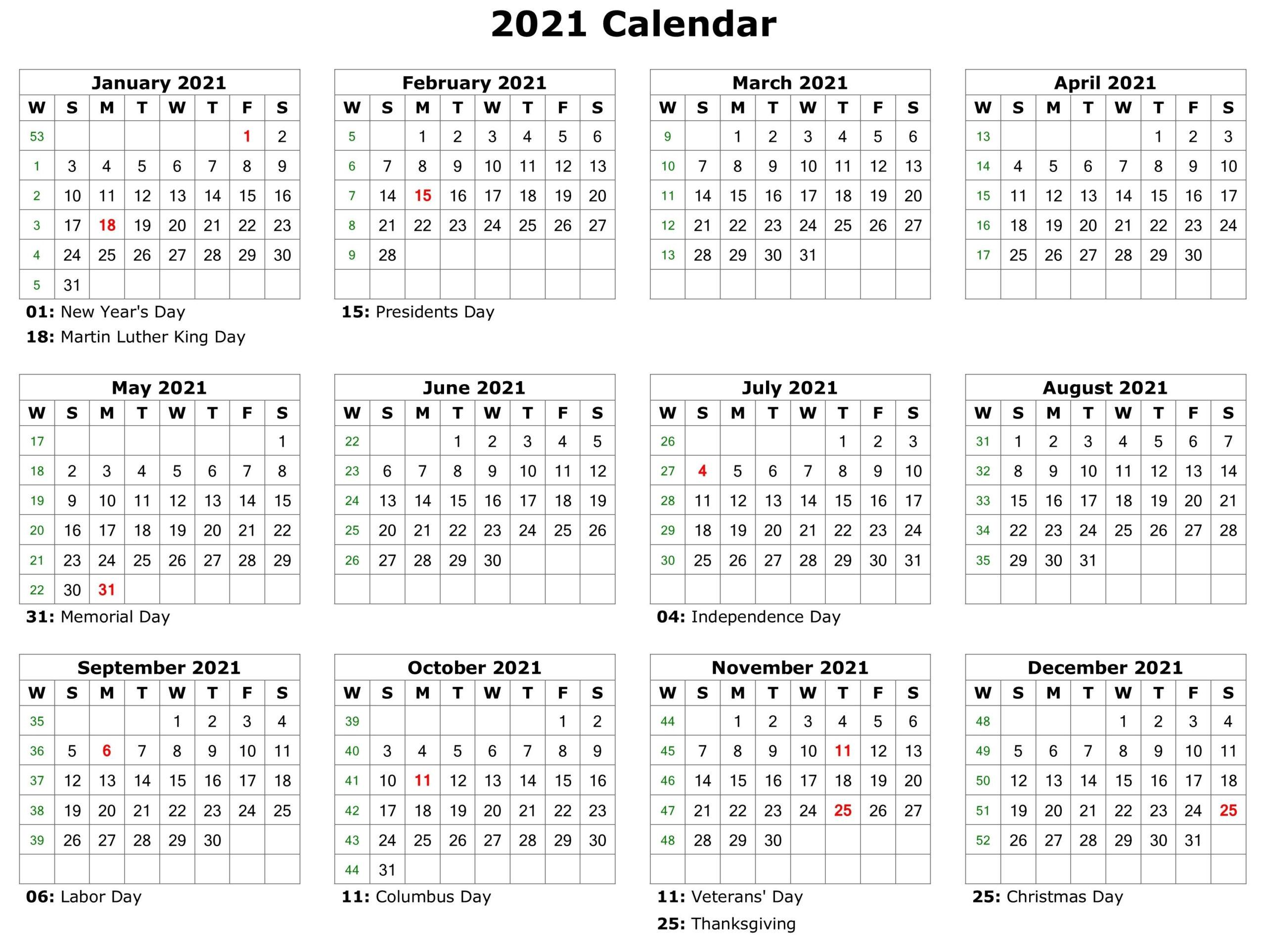 2021 Printable Calendar | Printable Calendar Pdf, Printable