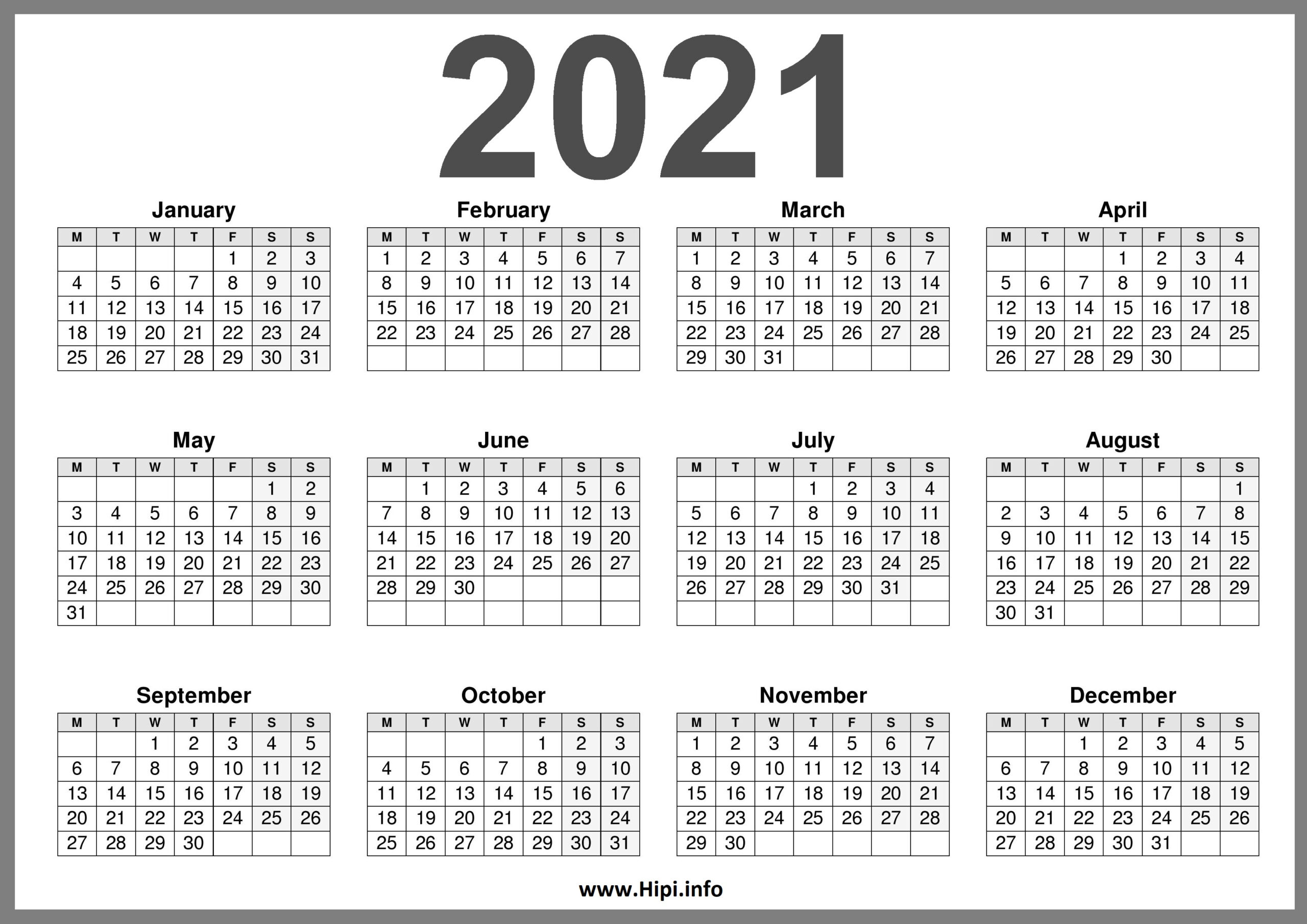 2021 Printable Calendar (Uk) United Kingdom - Hipi