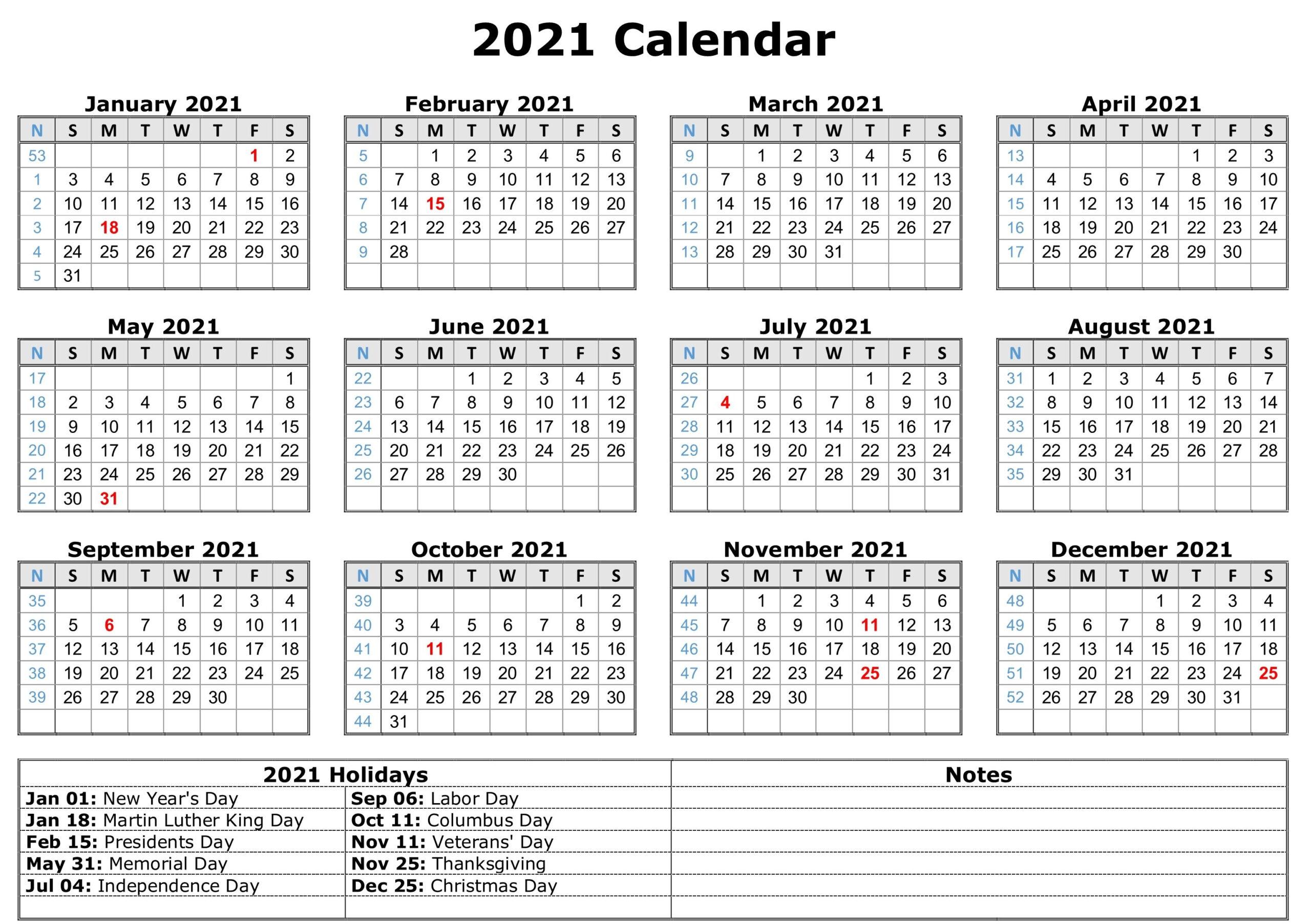 2021 Printable Calendar With Holidays | Calendar Template
