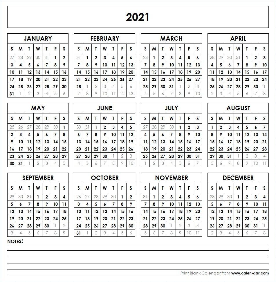 2021 Printable Calendar | Yearly Calendar Template