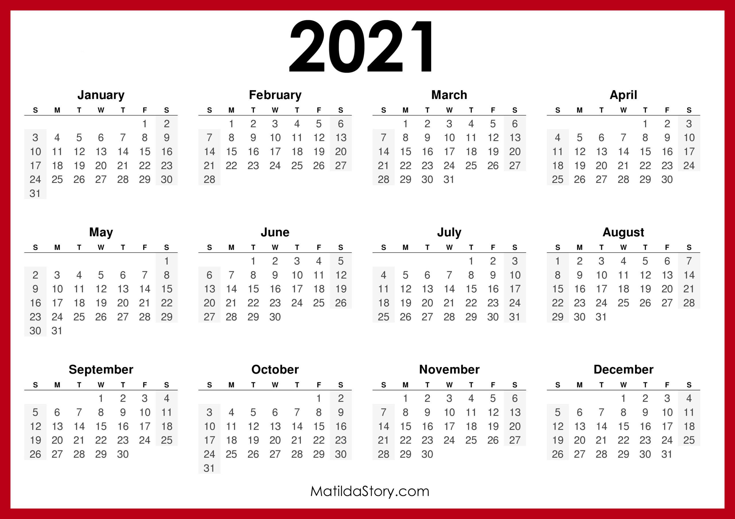 2021 Printable Free Calendar, Horizontal, Red – Sunday Start