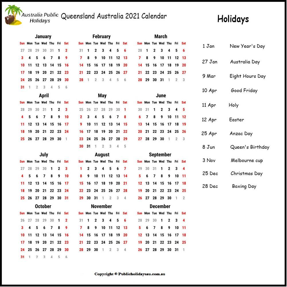2021 Public Holidays Qld