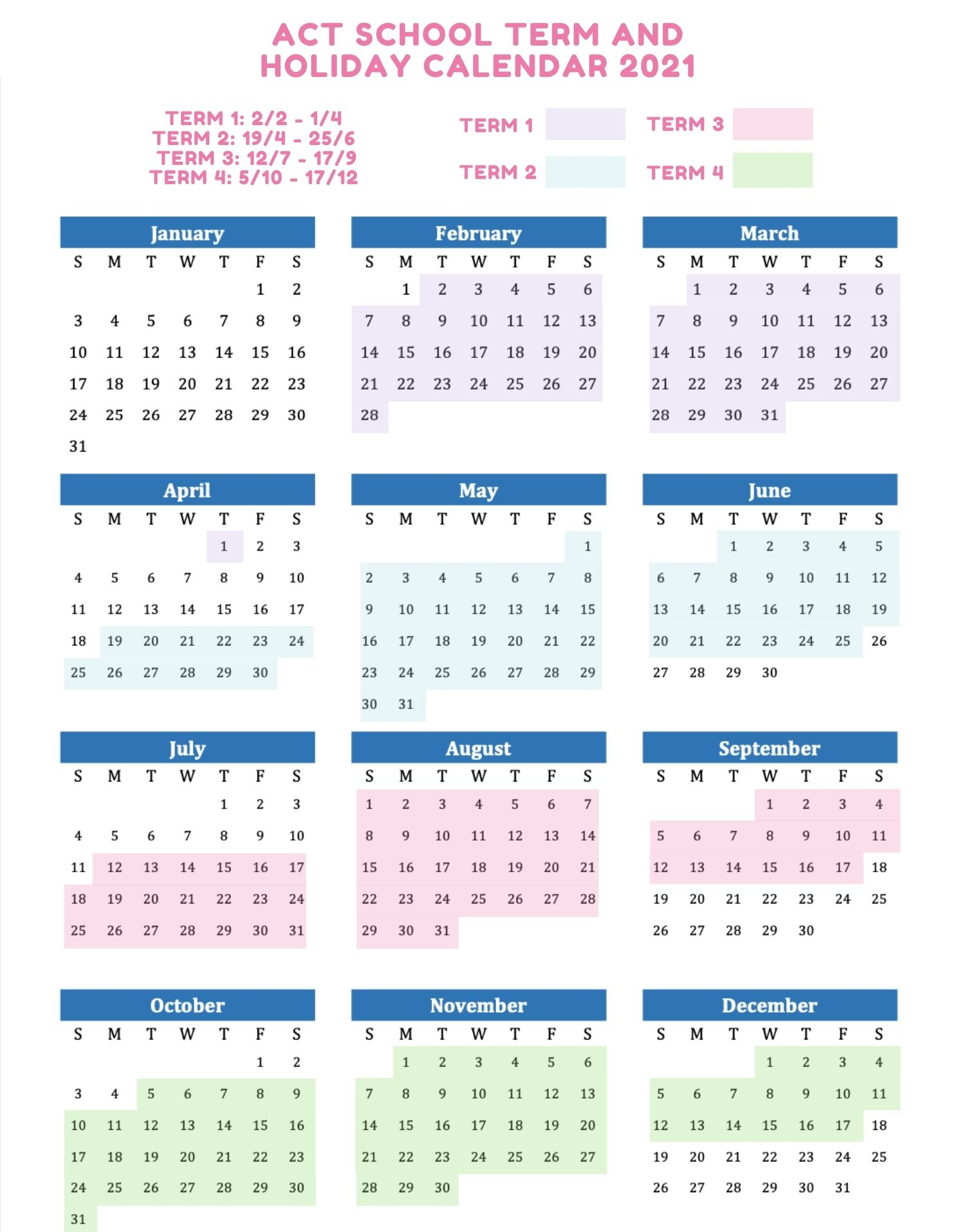 2021 School Holidays And Term Dates Australia