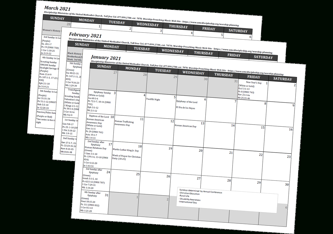 2021 Worship And Music Planning Calendar – Disciples